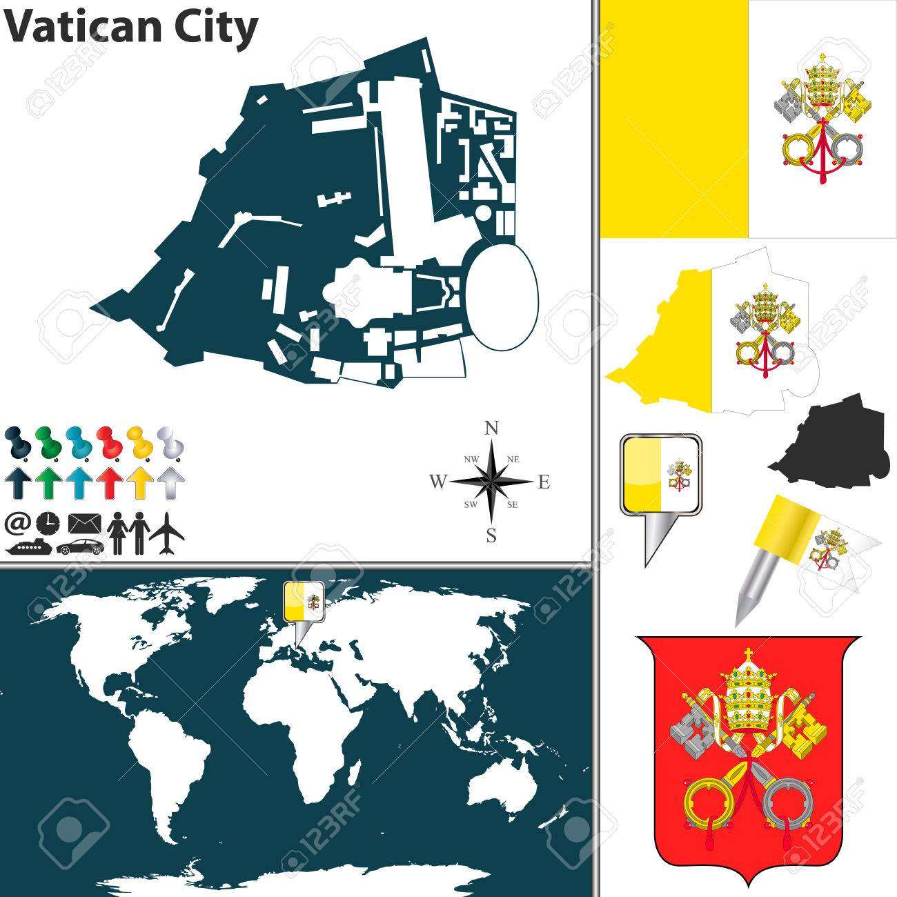 Map Of Vatican City With Coat Of Arms And Location On World Map ...
