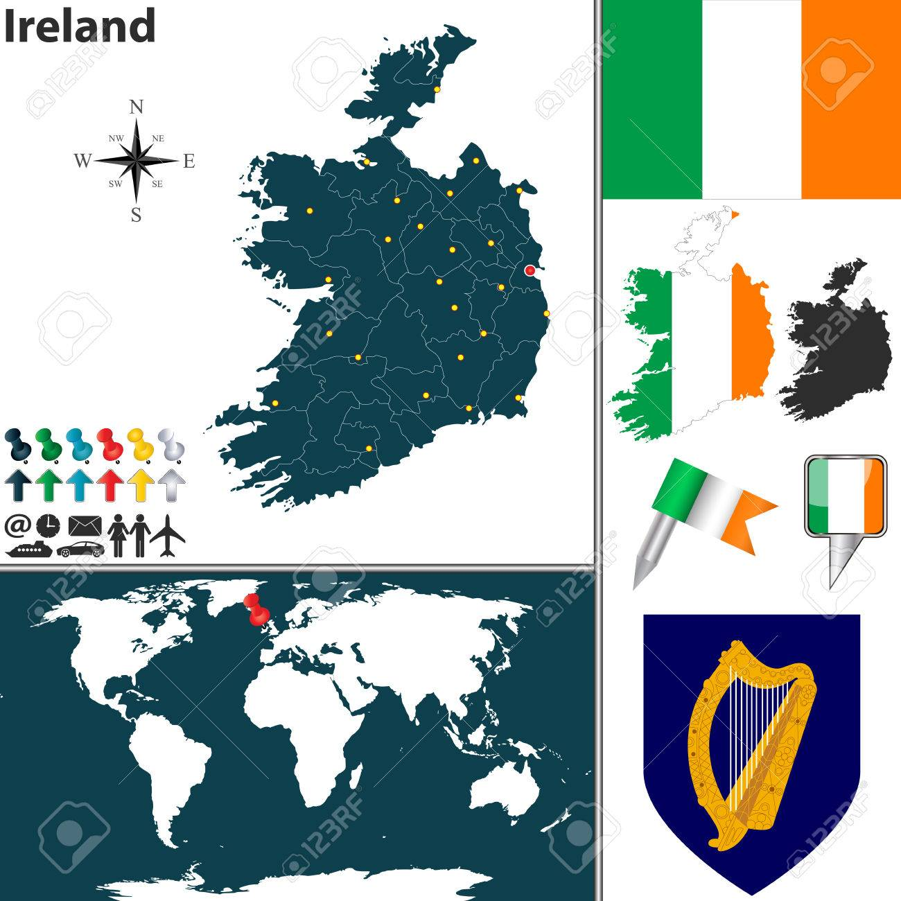 Map Of Ireland With Regions, Coat Of Arms And Location On World ...