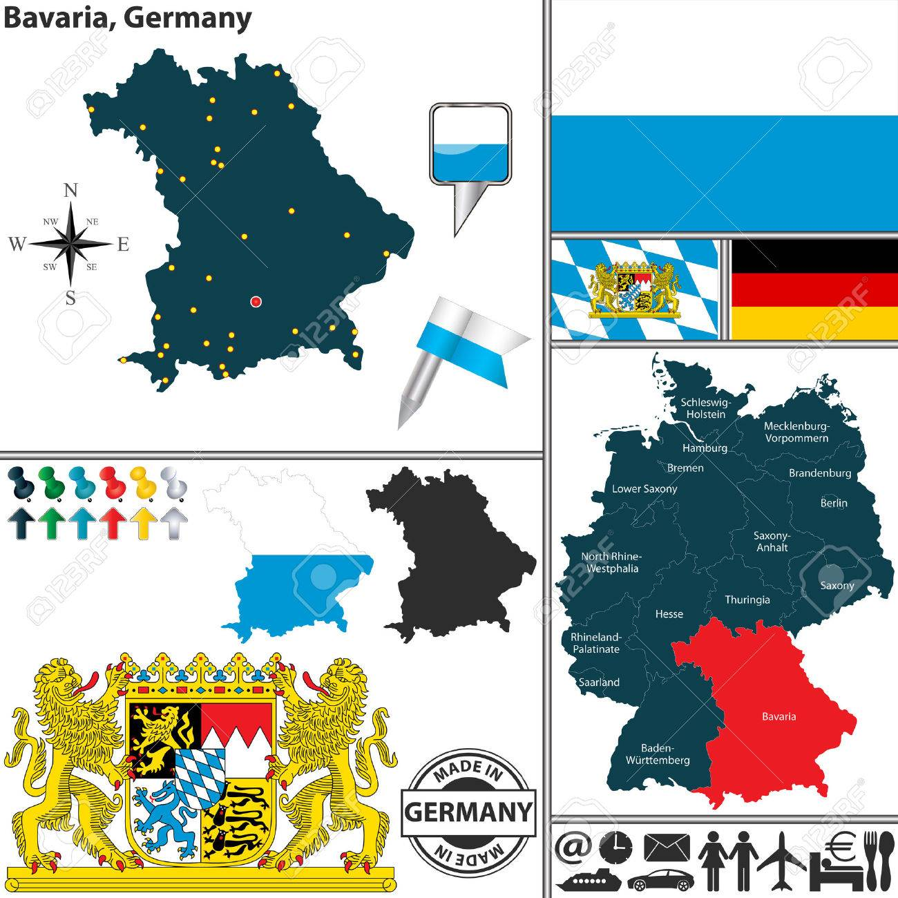 Map Of State Bavaria With Coat Of Arms And Location On Germany