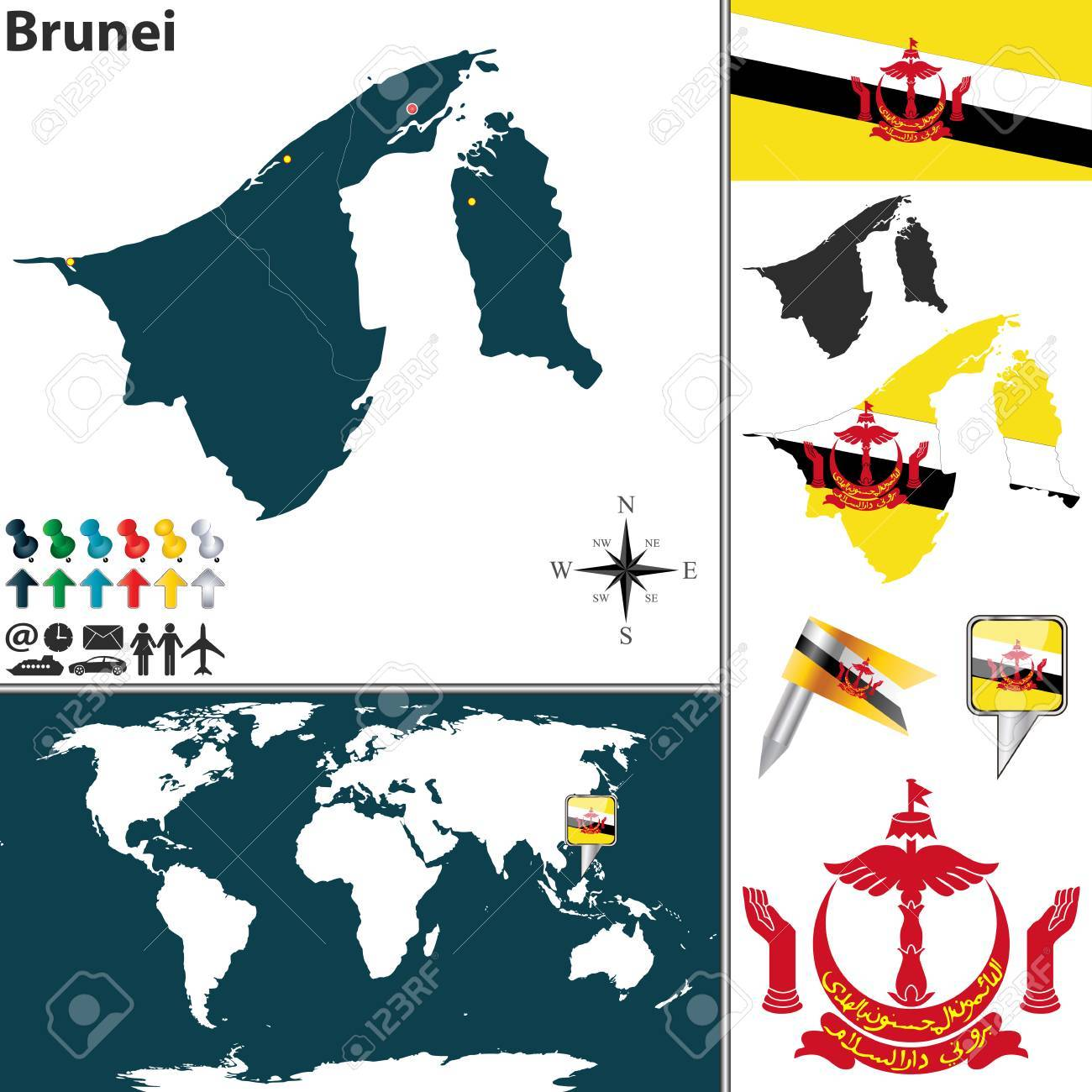 Map of brunei with regions coat of arms and location on world map of brunei with regions coat of arms and location on world map stock vector gumiabroncs Images