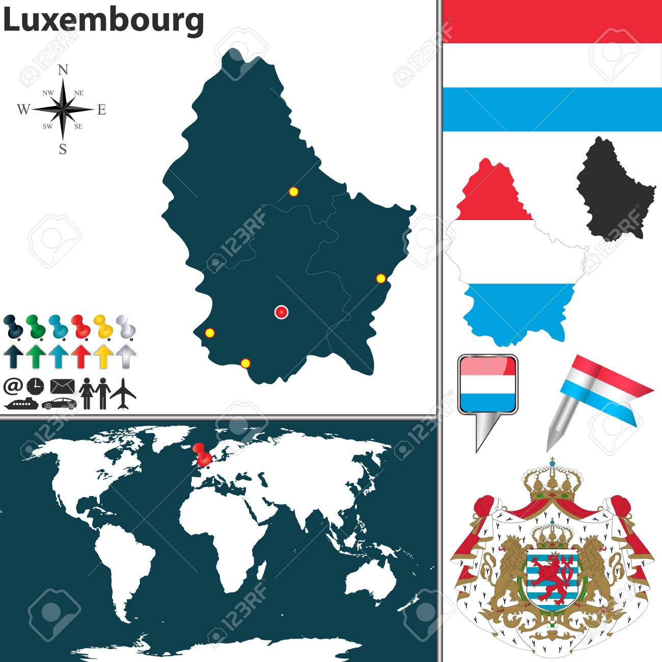 map of Luxembourg with coat of arms and location on world map