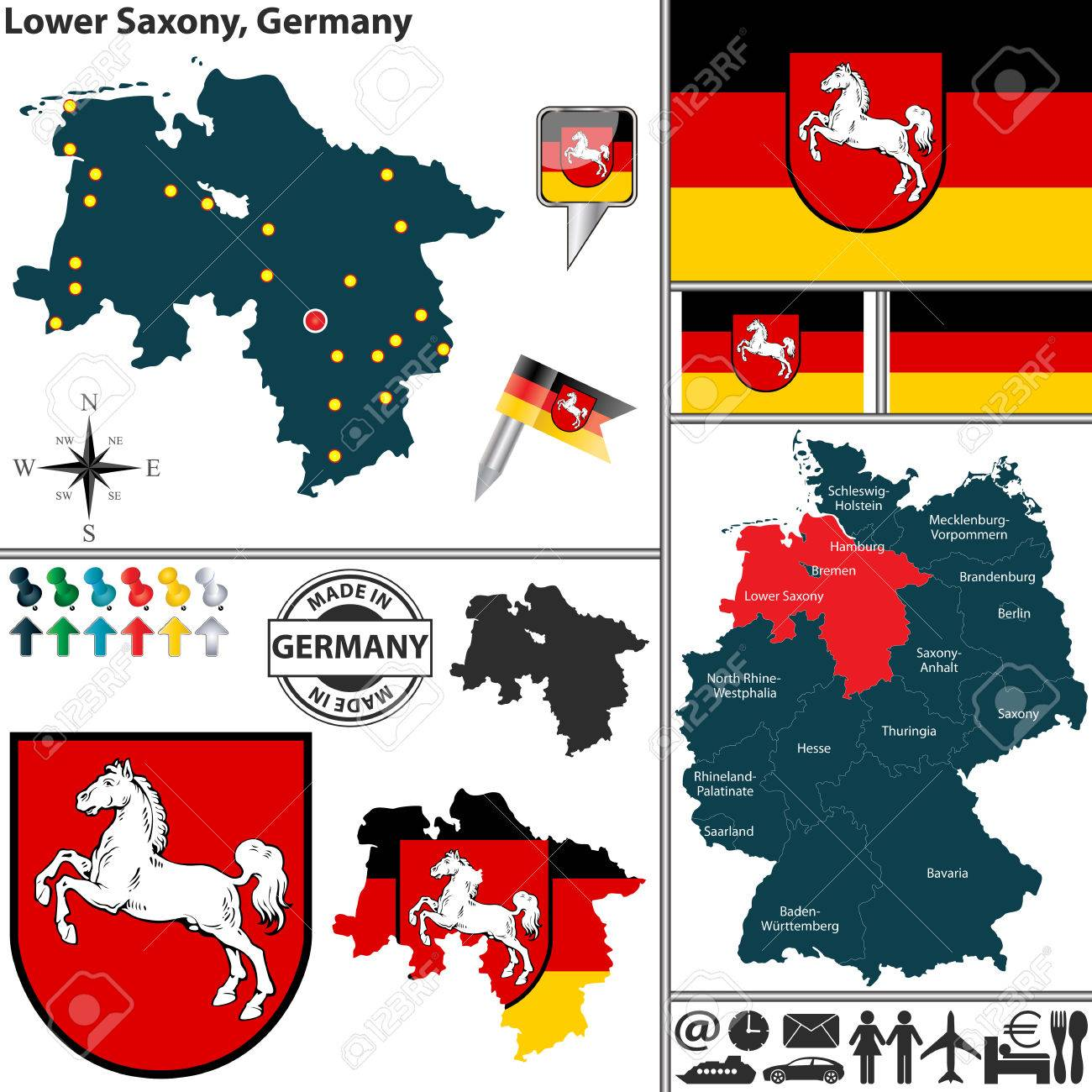 Map Of State Lower Saxony With Coat Of Arms And Location On - Germany map location