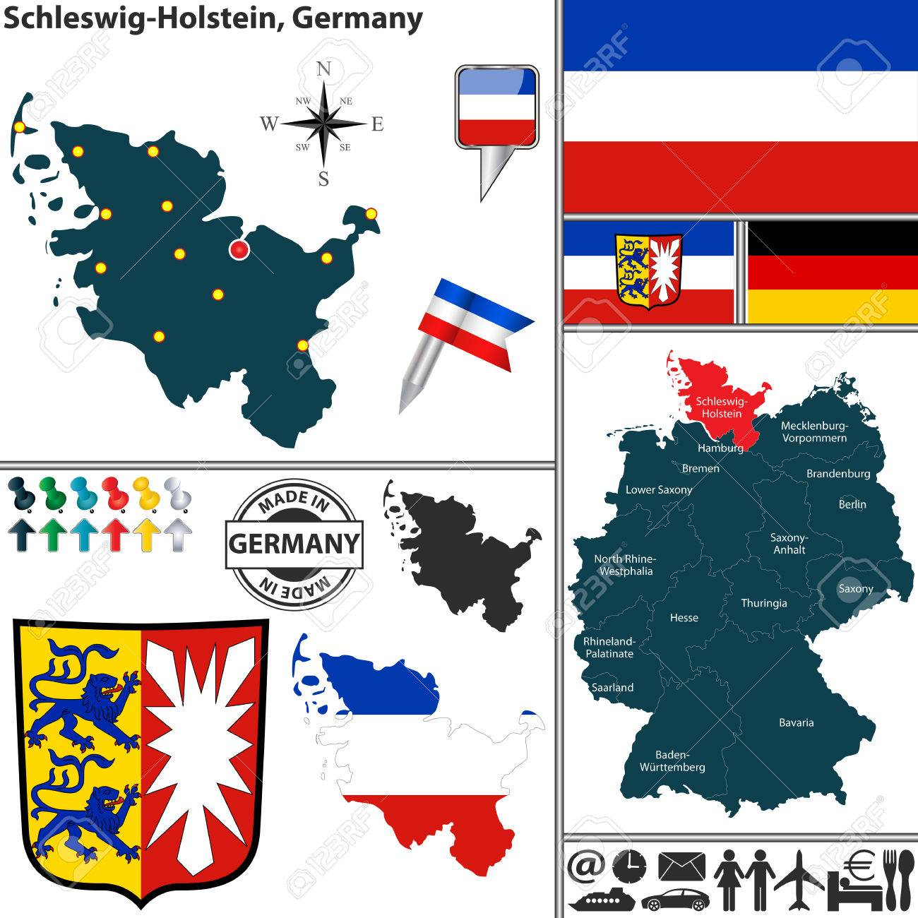 Map Of State SchleswigHolstein With Coat Of Arms And Location - Germany map location