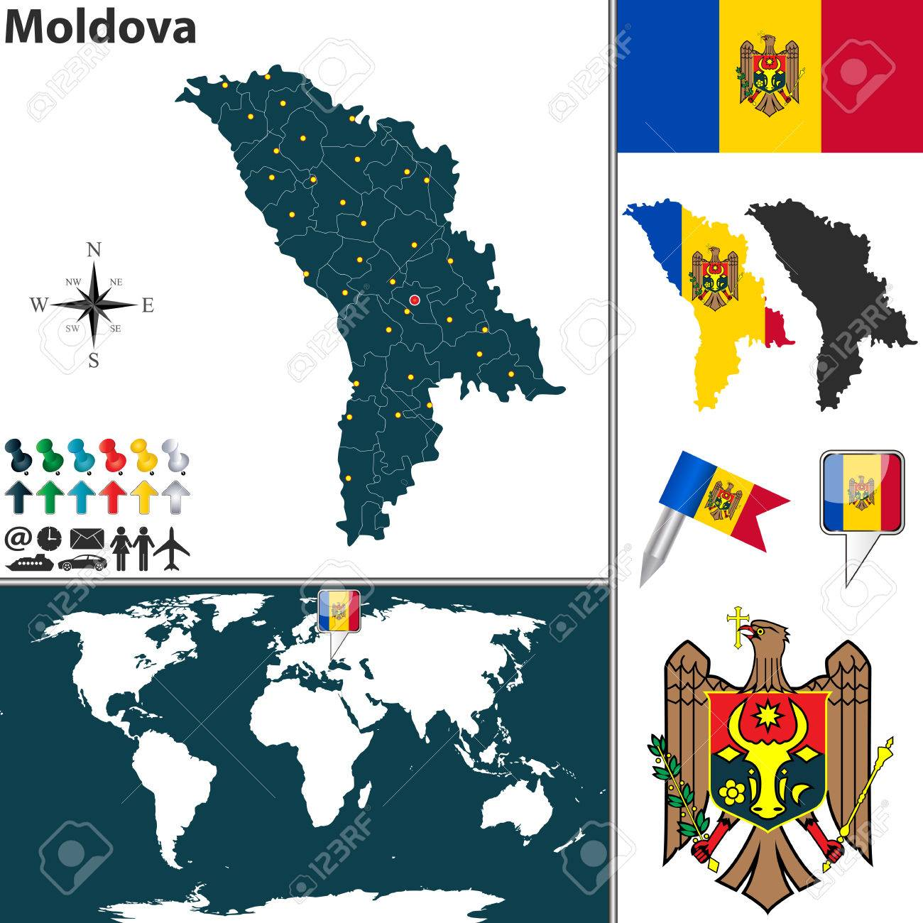 Map Of Moldova With Regions Coat Of Arms And Location On World