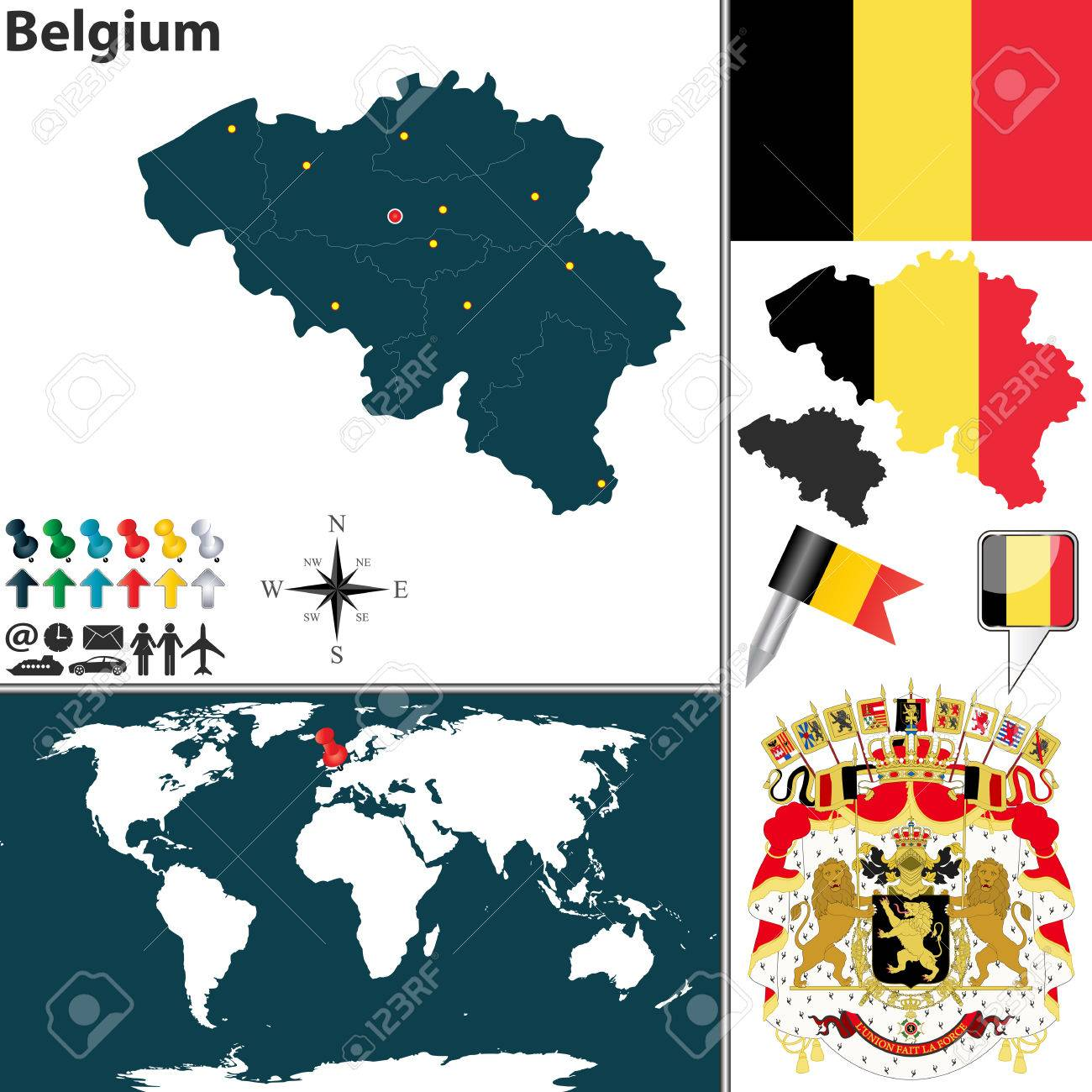 map of belgium with regions coat of arms and location on world map stock vector