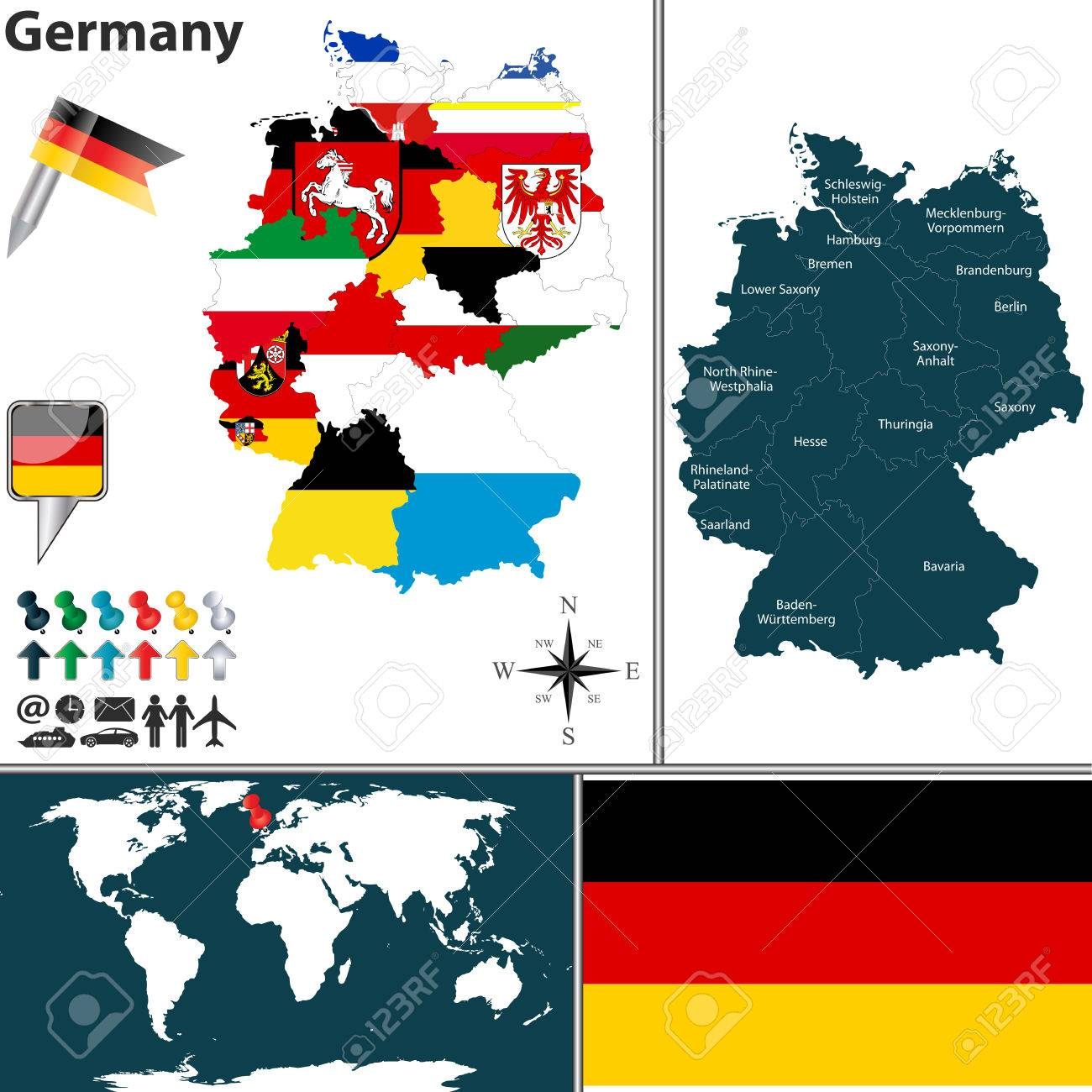 map of Germany with regions with flags and location on world..