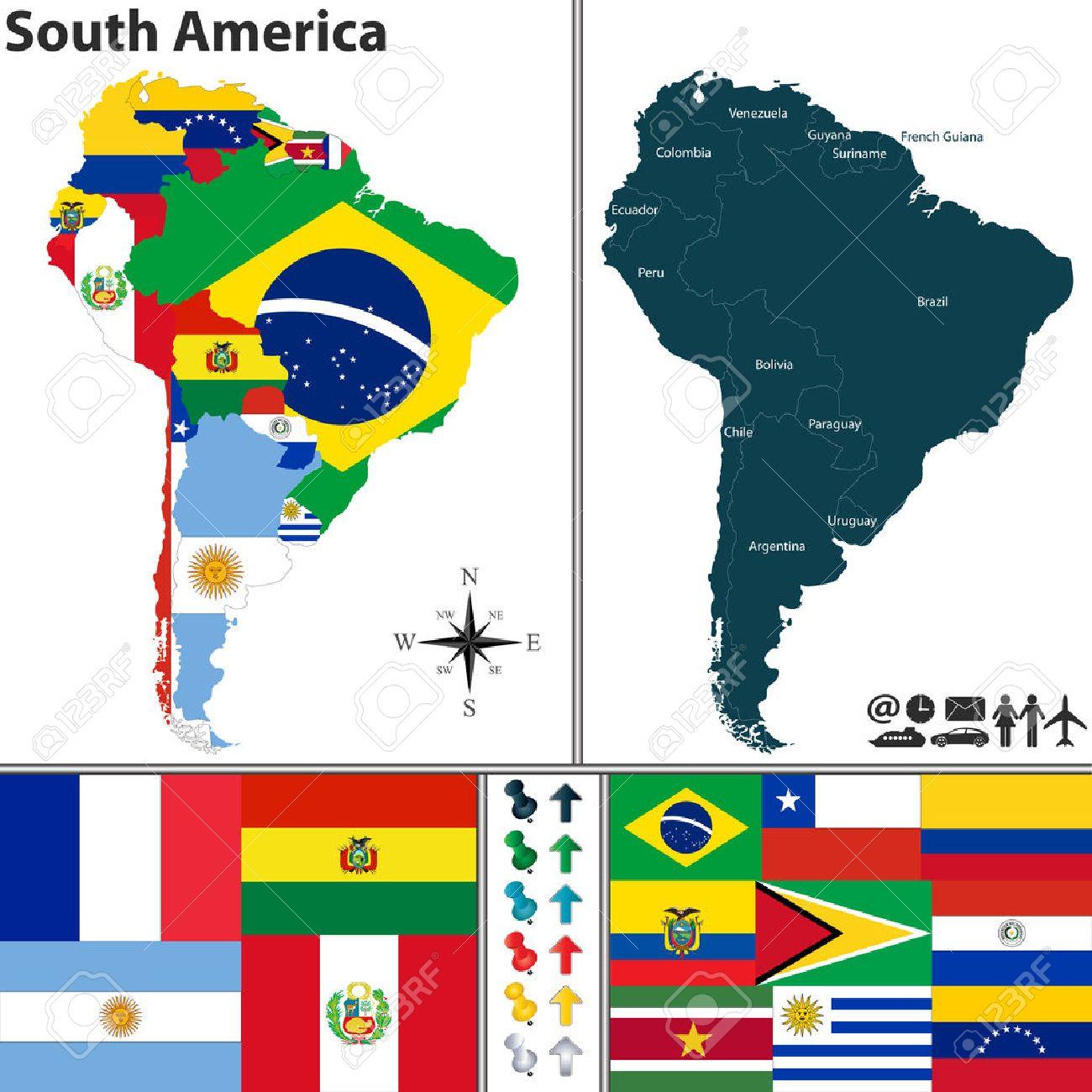 Une Carte De Lamerique Du Sud.Carte De L Amerique Du Sud Avec Des Drapeaux Et L Emplacement Sur La Carte Du Monde