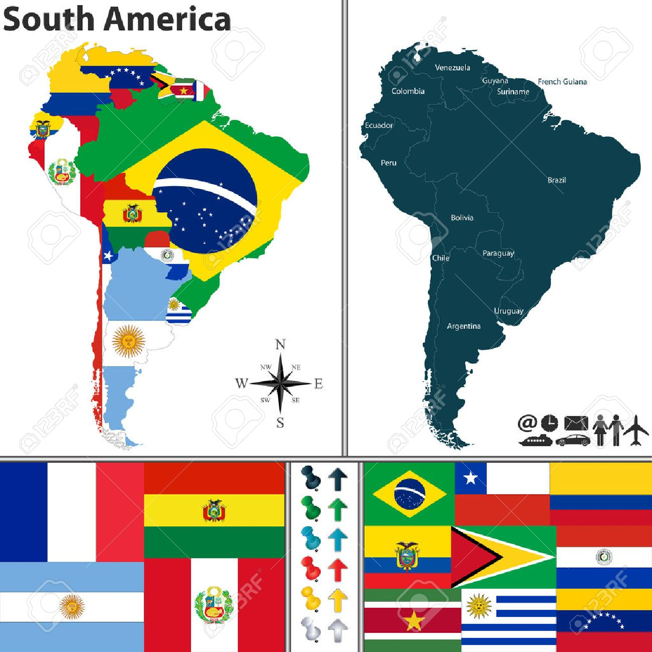 Map Of South America With Flags And Location On World Map Royalty - South america map and flags
