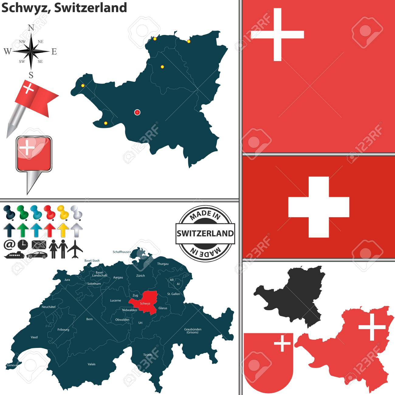 Vector map of canton Schwyz with coat of arms and location on..