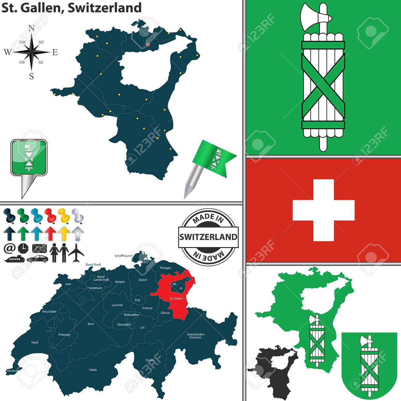 Vector Map Of Canton St Gallen With Coat Of Arms And Location