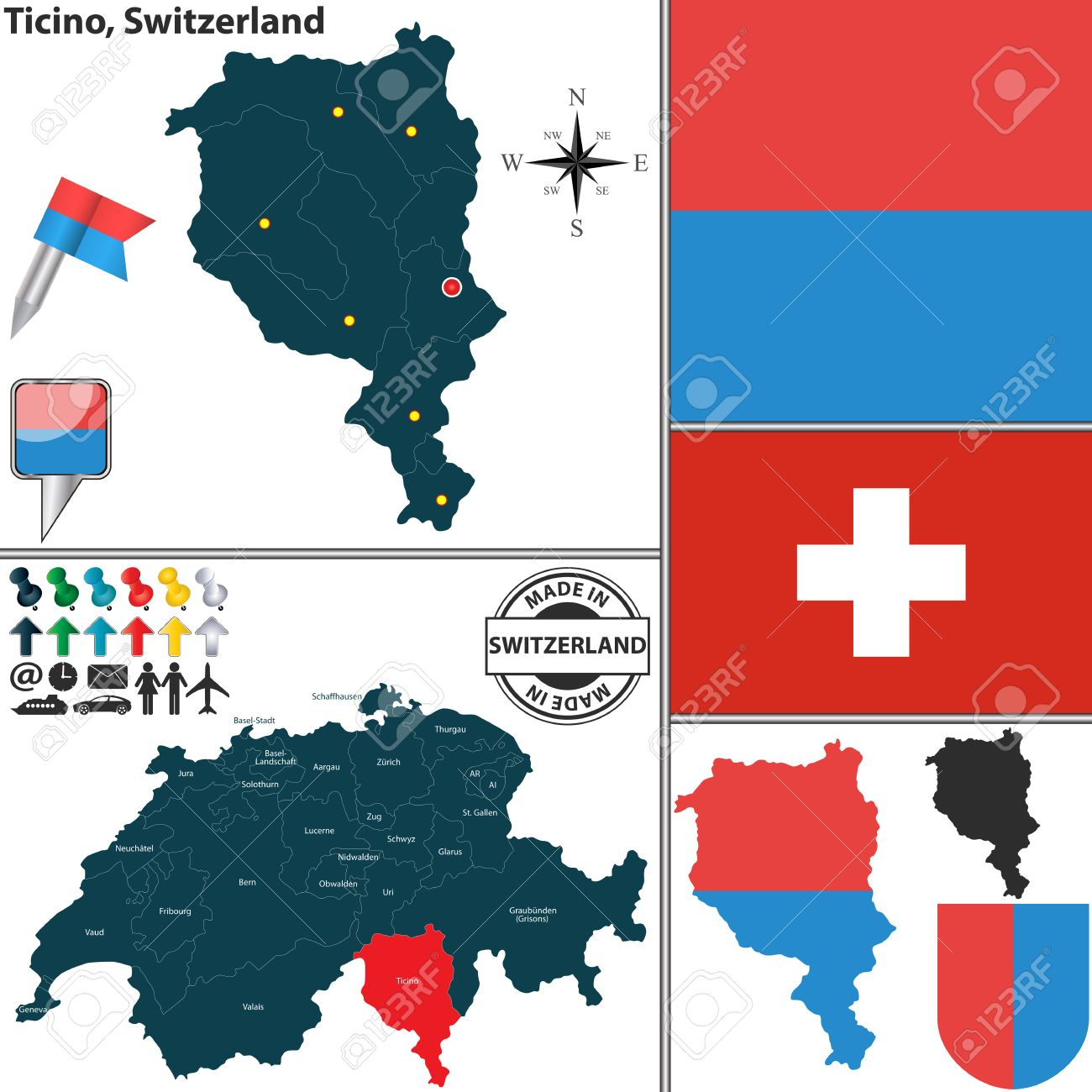 Vector Map Of Canton Ticino With Coat Of Arms And Location On