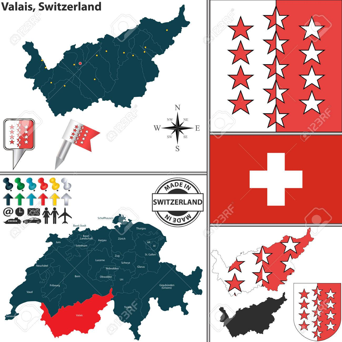 Vector Map Of Canton Valais With Coat Of Arms And Location On