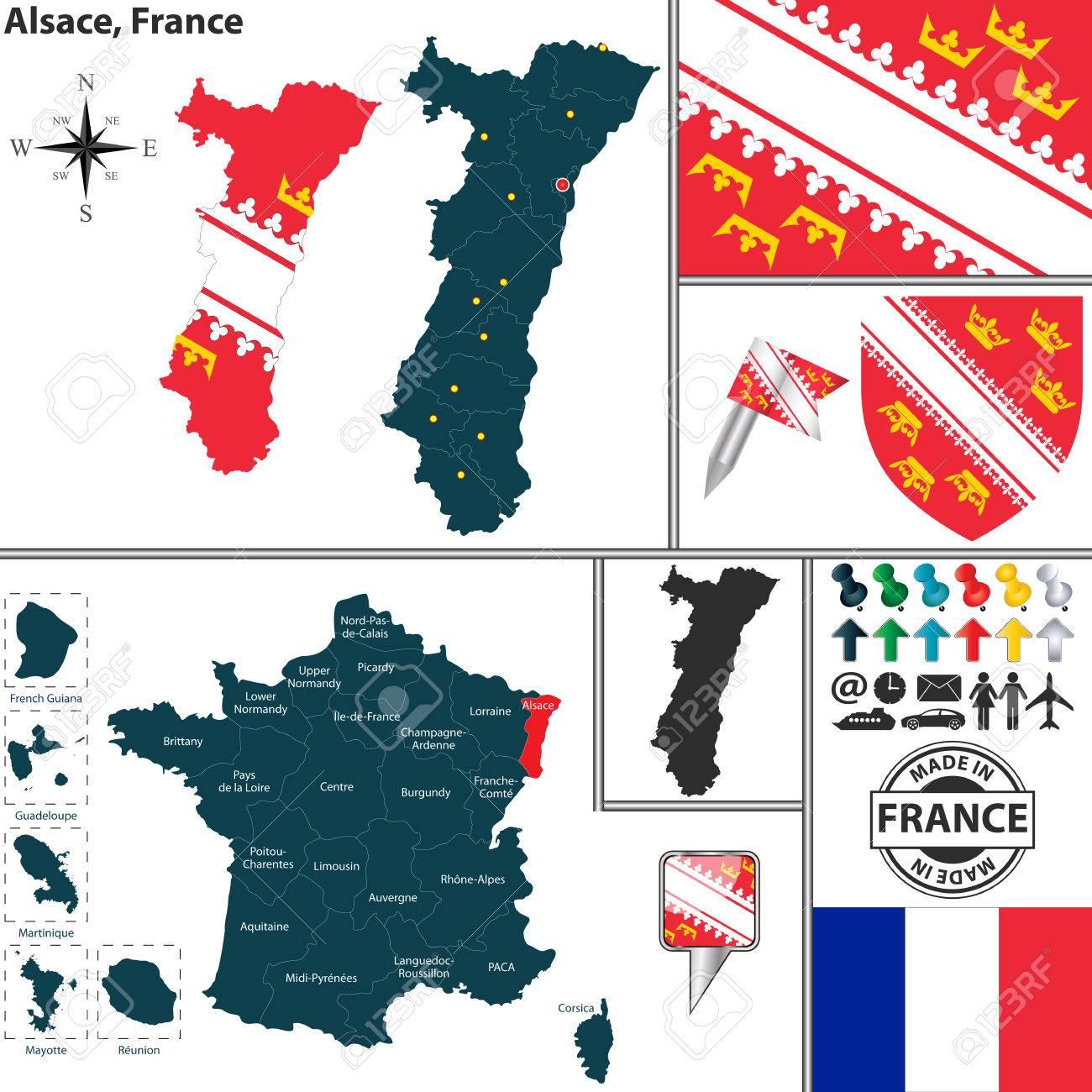 Carte Alsace Vector.Vector Carte De L Etat Alsace Avec Armoiries Et L Emplacement Sur La Carte France