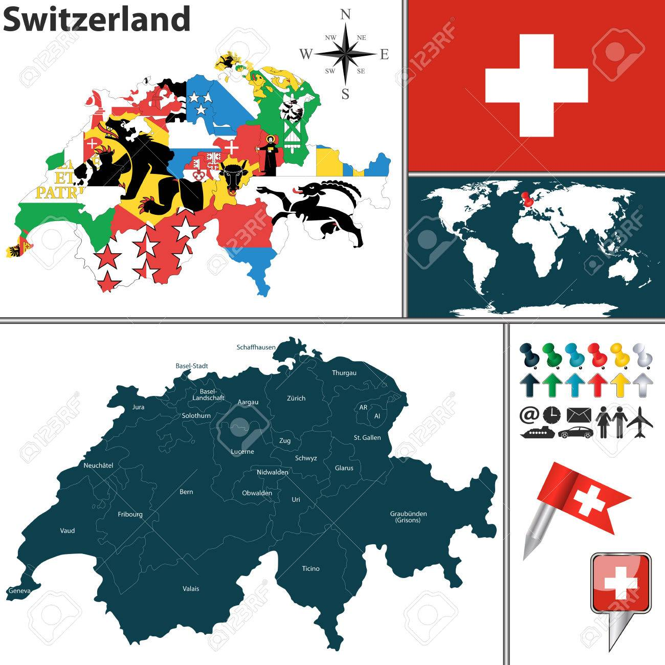 Vector map of switzerland with regions with flags and location vector map of switzerland with regions with flags and location on world map stock vector gumiabroncs Images