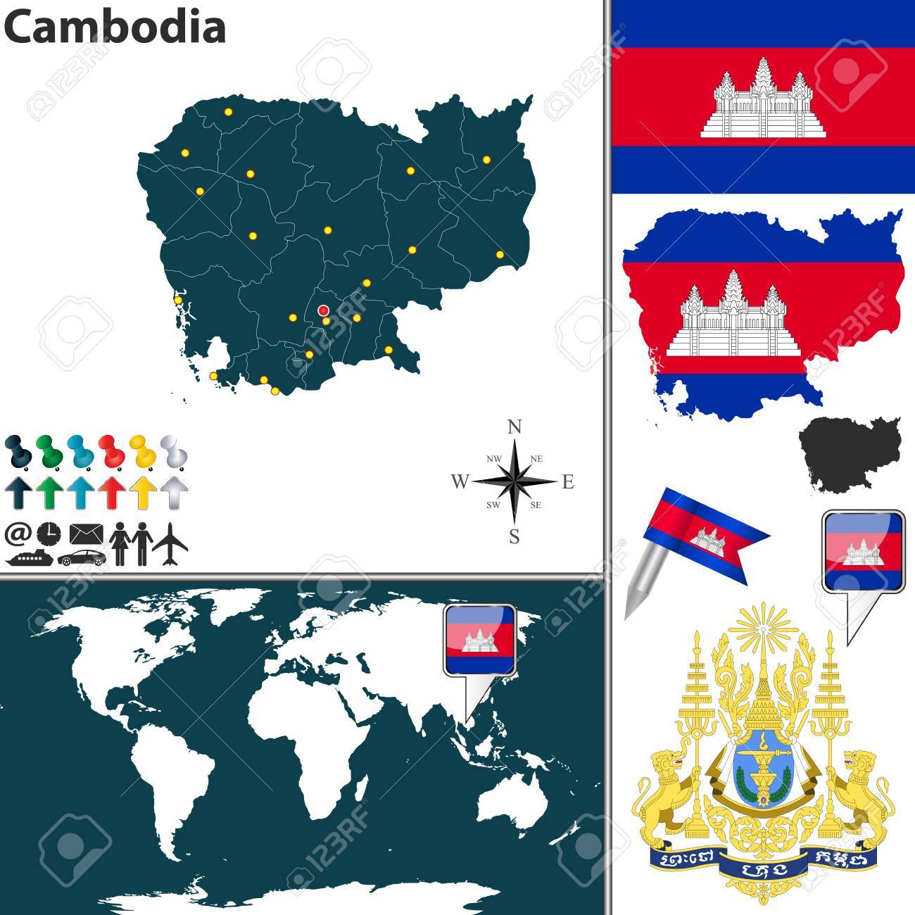 Vector Map Of Cambodia With Coat Of Arms And Location On World ...