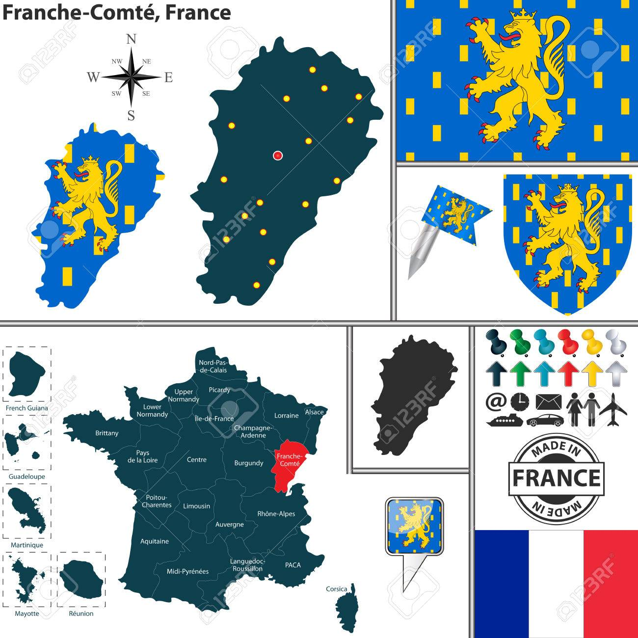 Map Of State Franche-Comte With Coat Of Arms And Location On ...