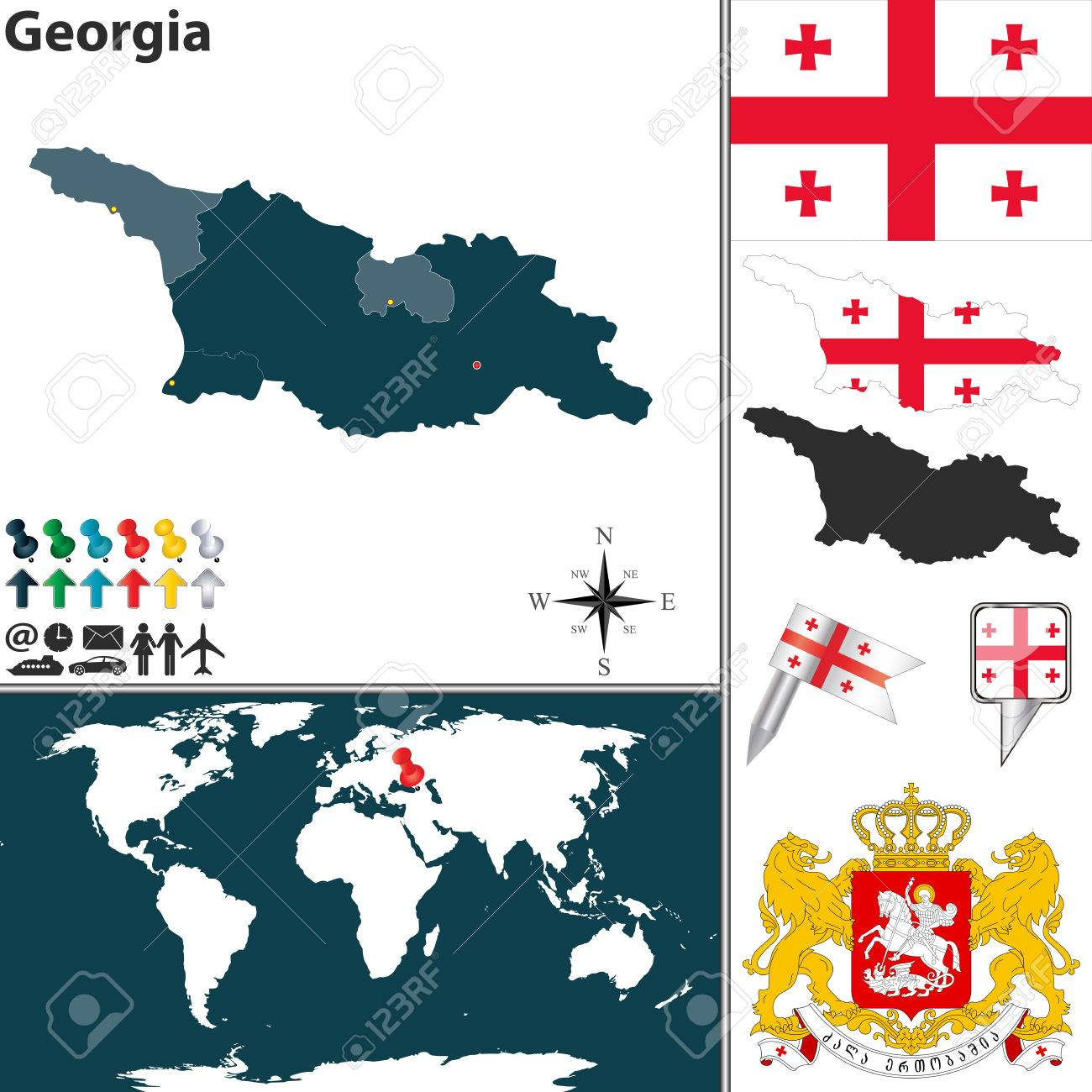 map of Georgia with regions, coat of arms and location on world..