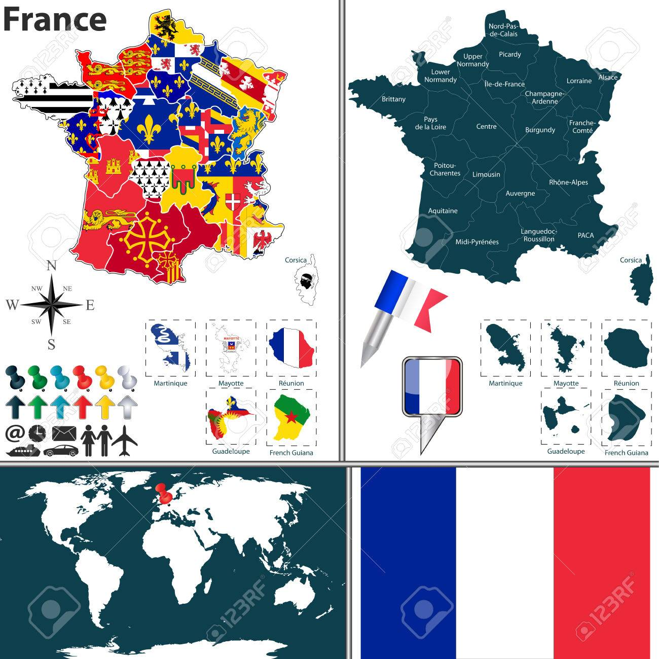 Vector map of france with regions with flags and location on vector map of france with regions with flags and location on world map stock vector gumiabroncs