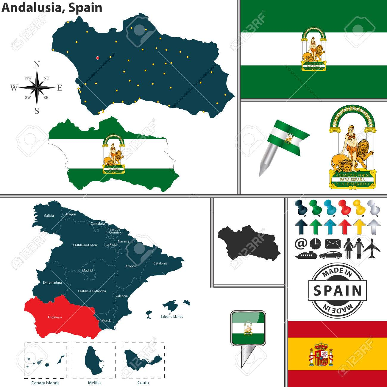 Vector Map Of Region Of Andalusia With Coat Of Arms And Location