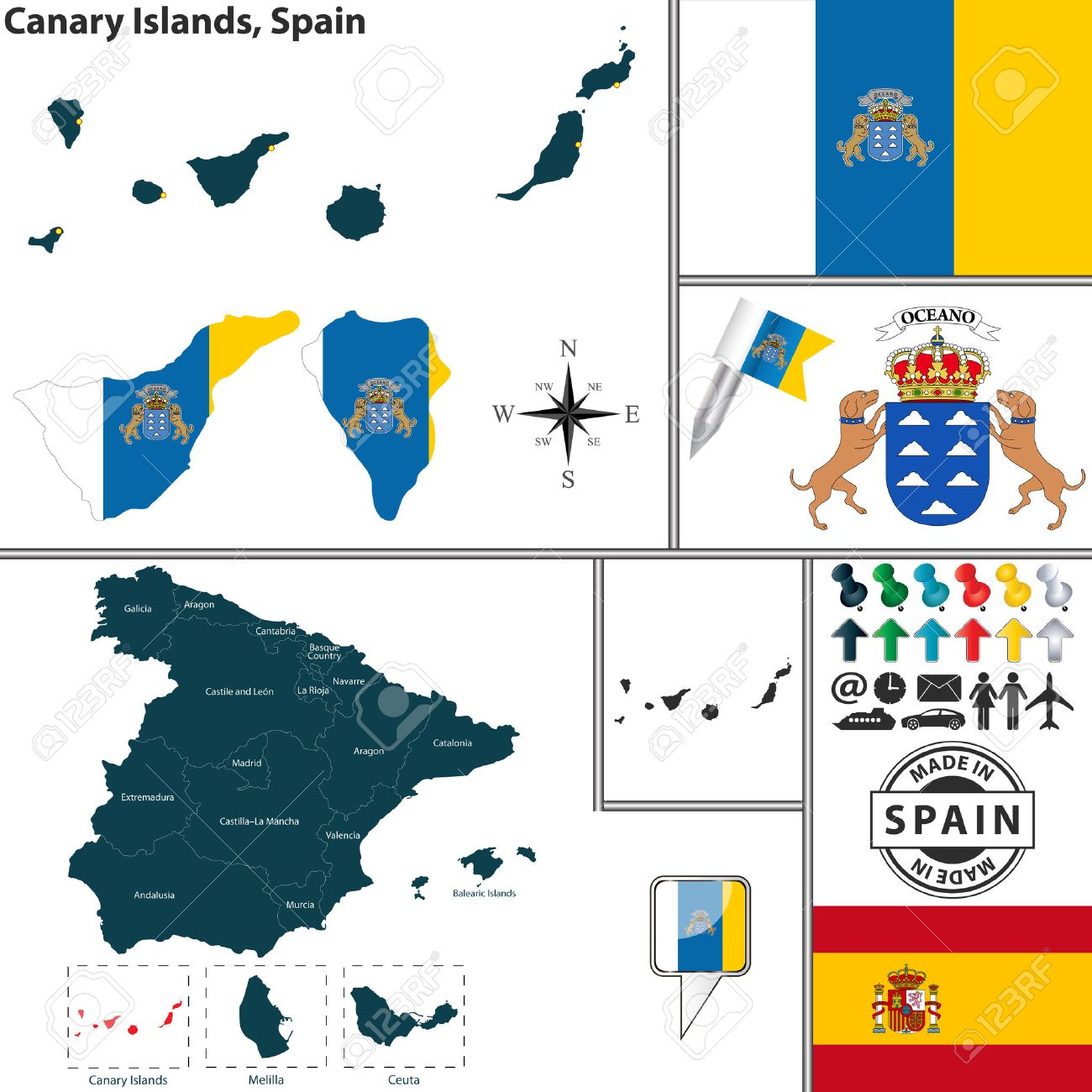 Vector Map Of Region Of Canary Islands With Coat Of Arms And
