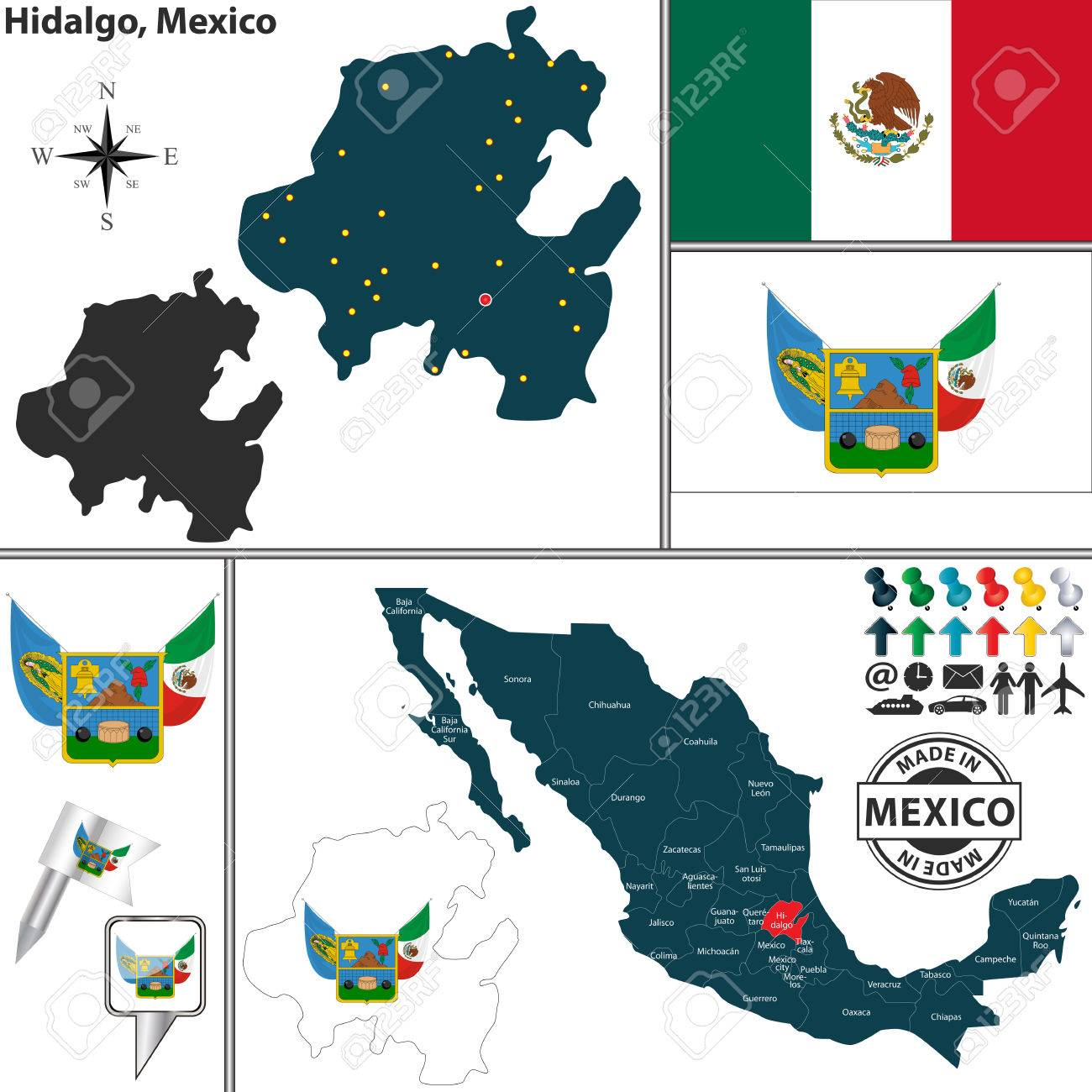 Vector Map Of State Hidalgo With Coat Of Arms And Location On