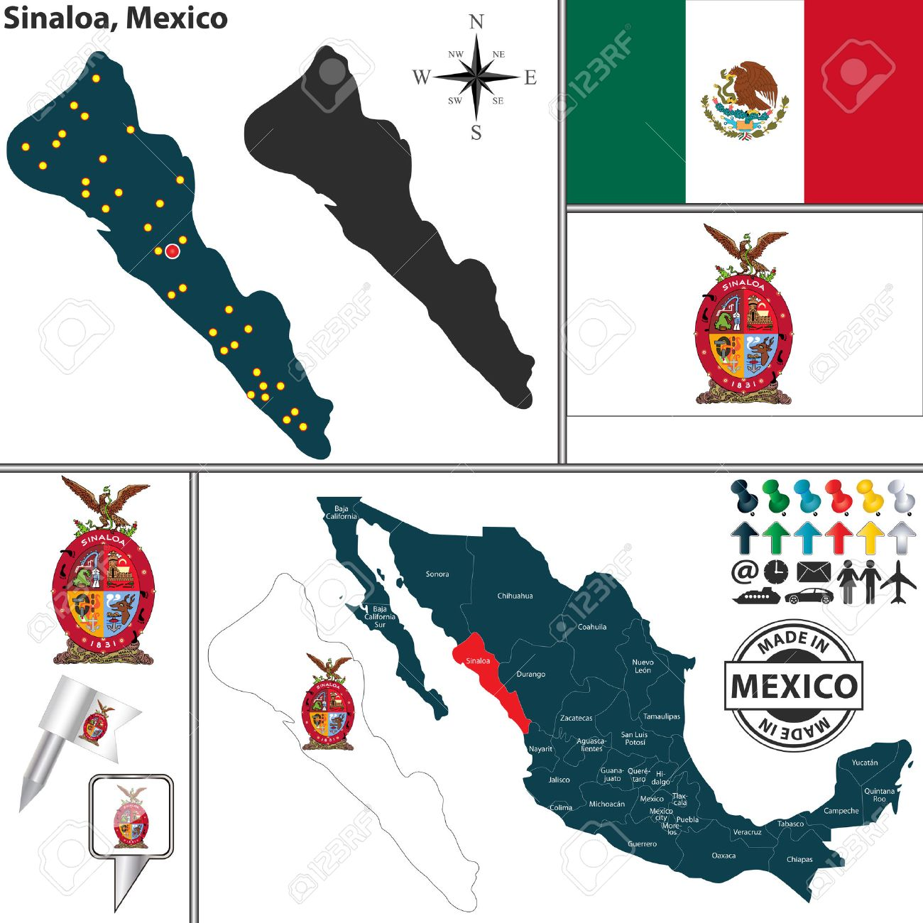 Vector Map Of State Sinaloa With Coat Of Arms And Location On - Us mexico vector map