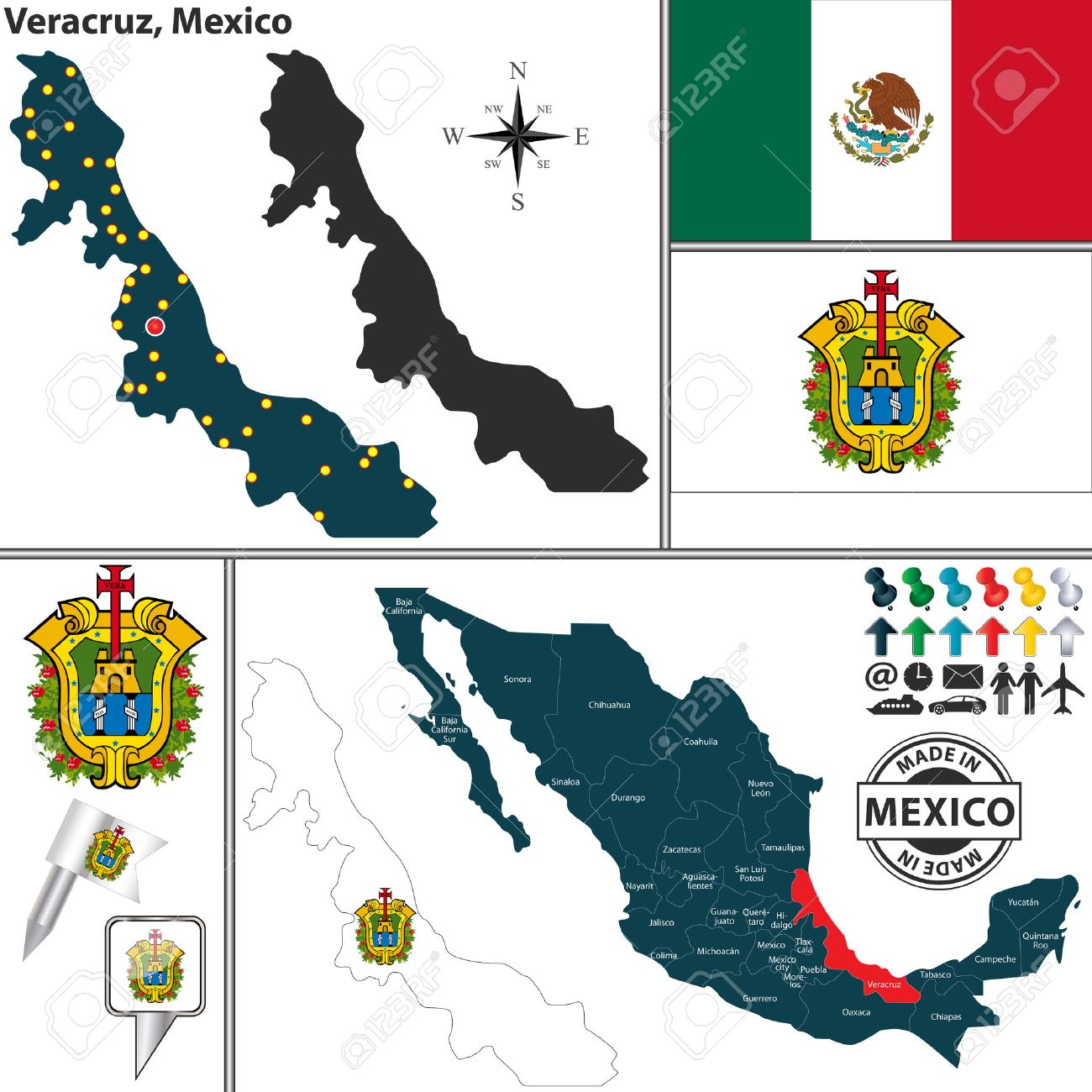 Vector Map Of State Veracruz With Coat Of Arms And Location On