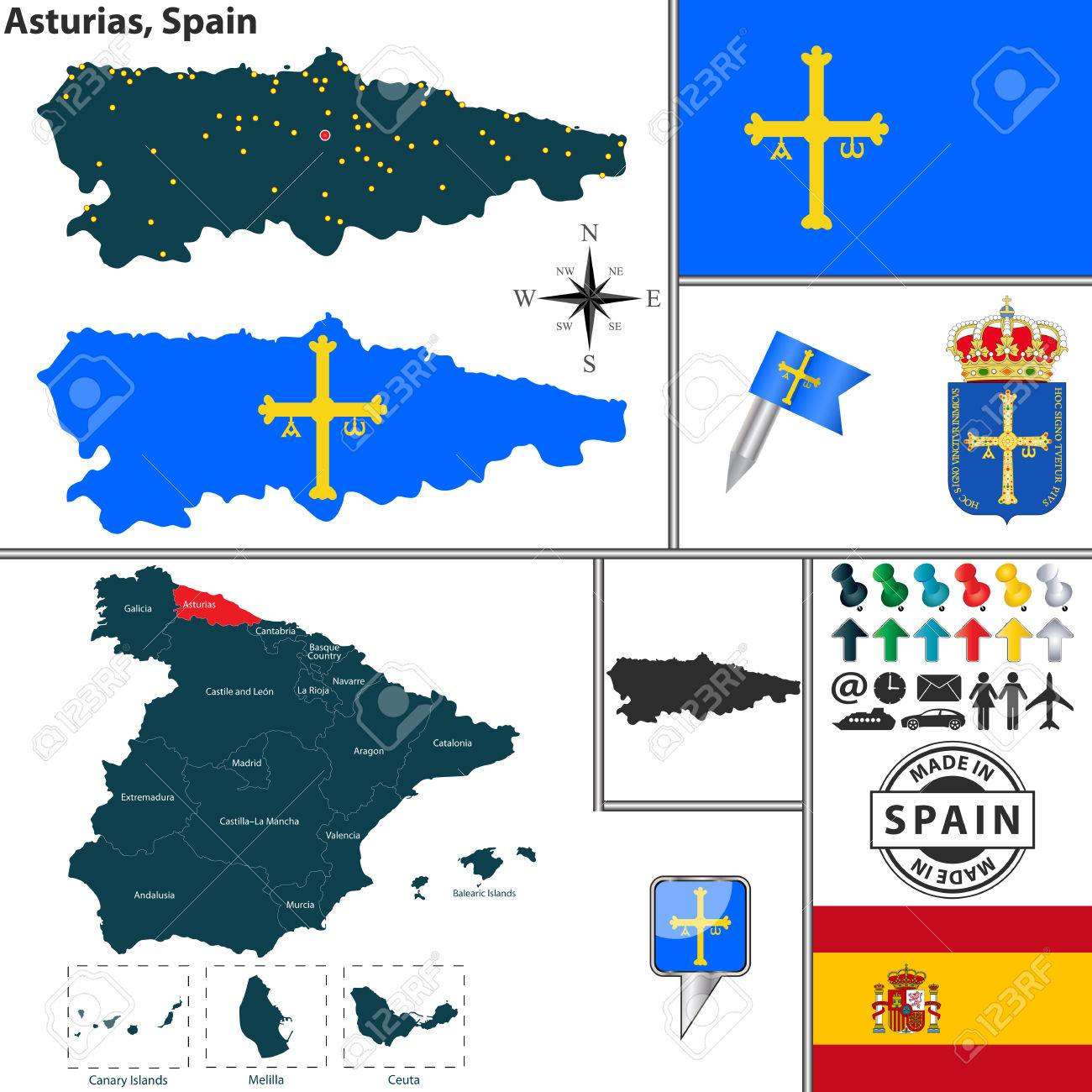 Vector Map Of Region Of Asturias With Coat Of Arms And Location