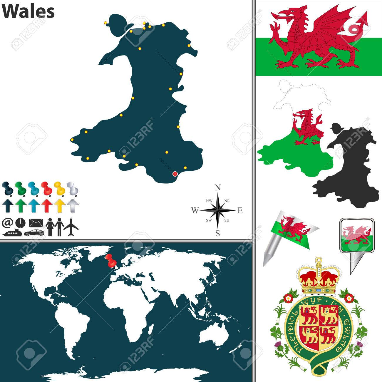 Vector Map Of Wales With Coat Of Arms And Location On World Map ...