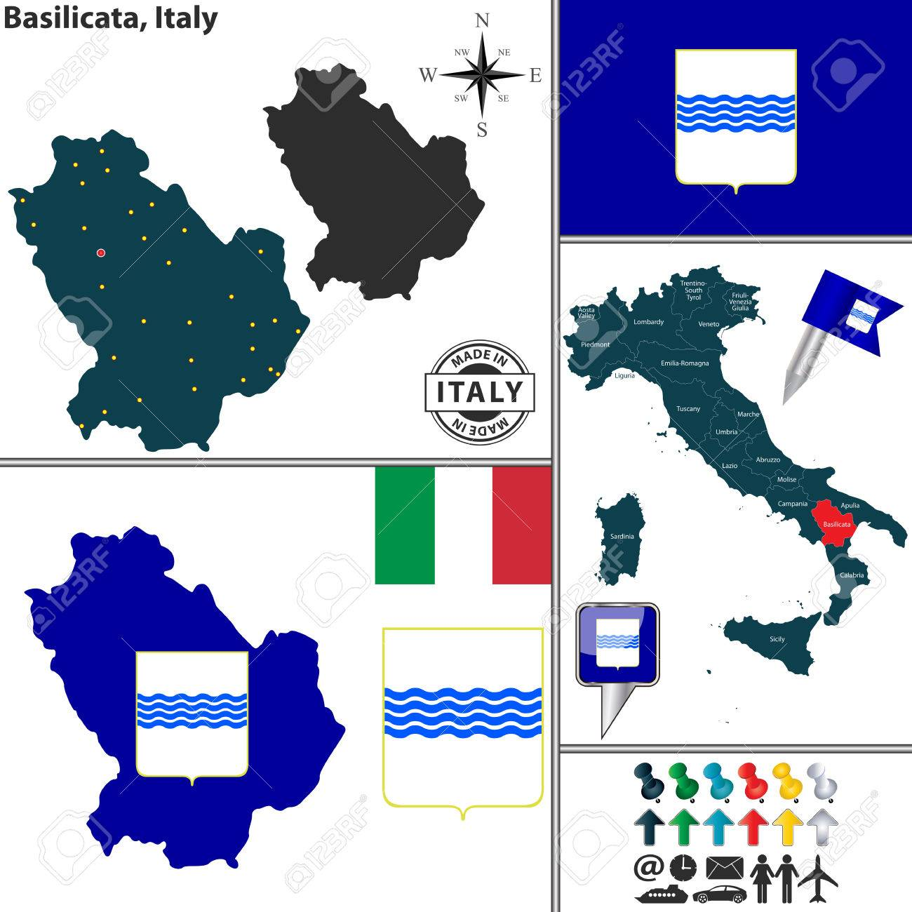 Vector Map Of Region Basilicata With Coat Of Arms And Location On
