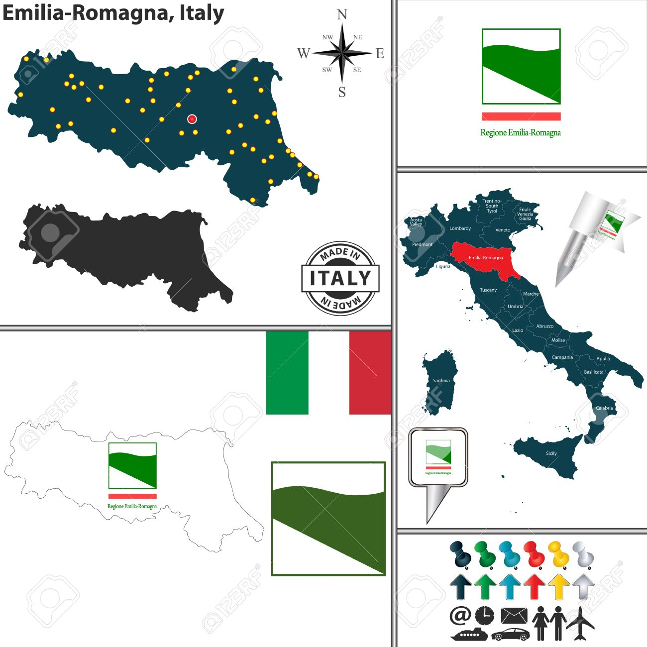 Vector Map Of Region EmiliaRomagna With Coat Of Arms And Location