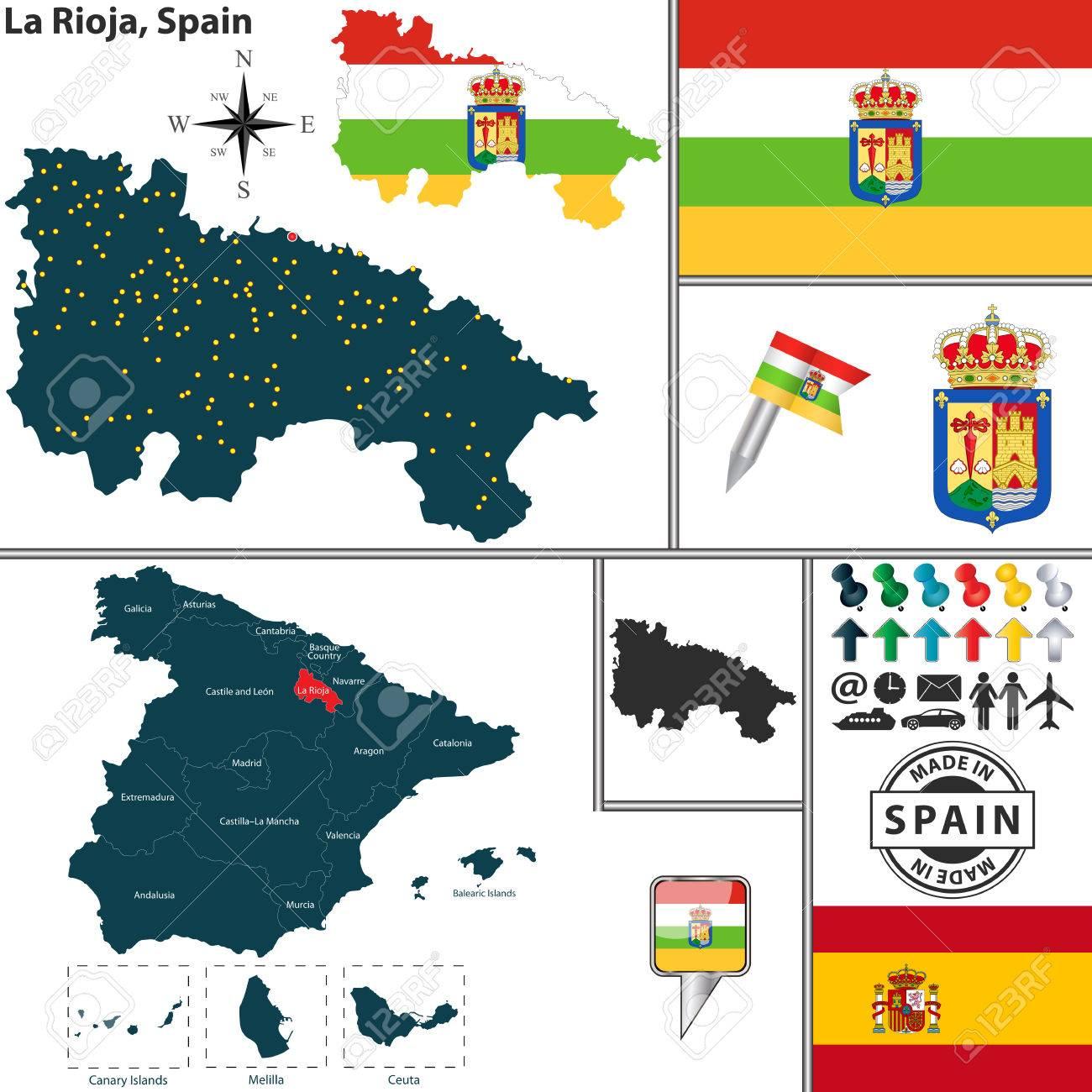 Rioja Region Spain Map.Vector Map Of Region Of La Rioja With Coat Of Arms And Location