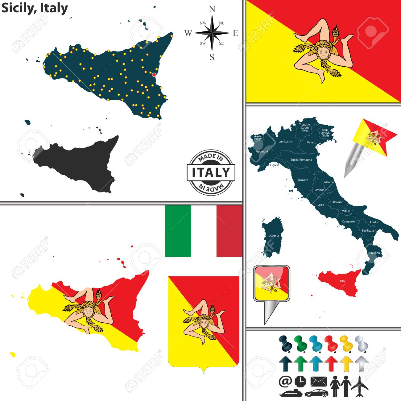 Vector Map Of Region Sicily With Coat Of Arms And Location On Italy