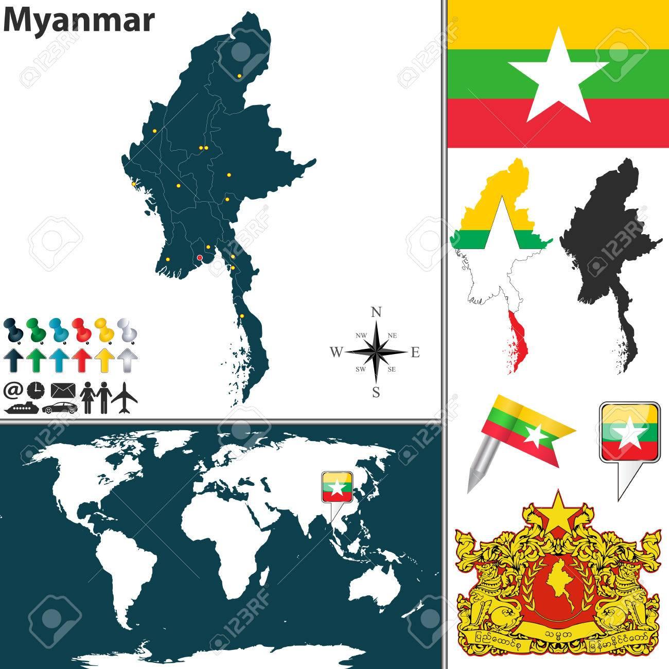 Birmanie Carte Regions.Vector Carte Du Myanmar Avec Les Regions Les Armoiries Et L
