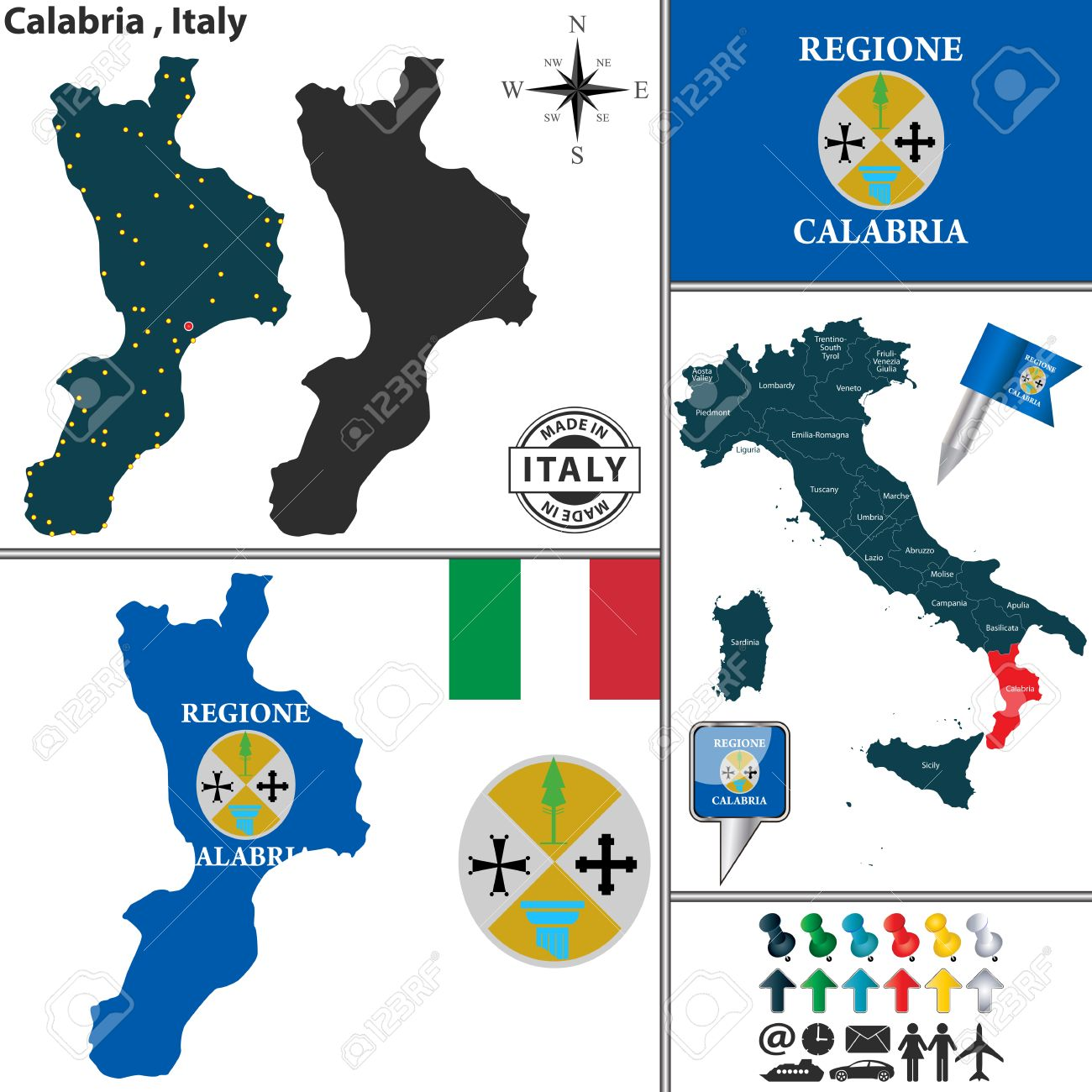 Vector Map Of Region Calabria With Coat Of Arms And Location ...