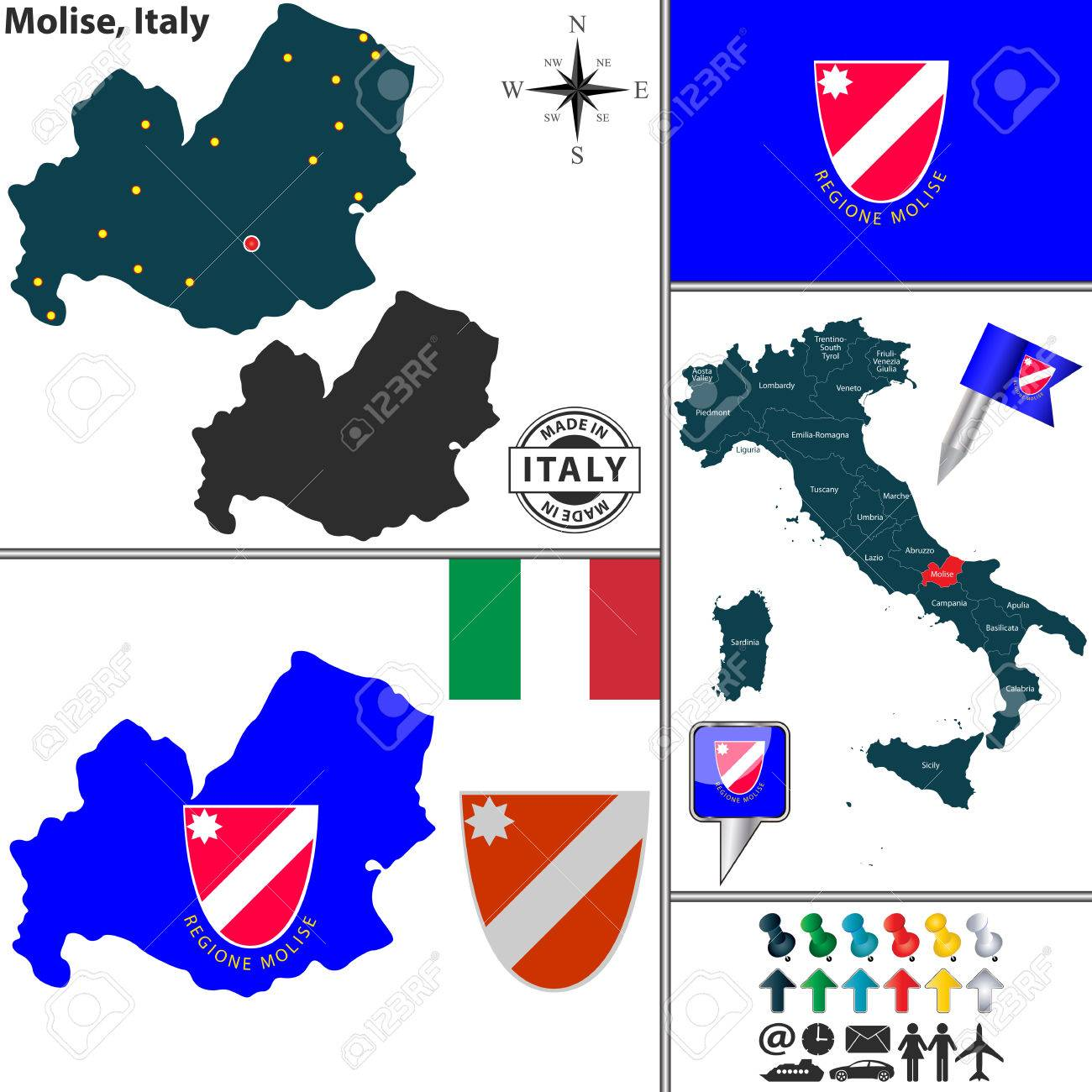 Vector Map Of Region Molise With Coat Of Arms And Location On
