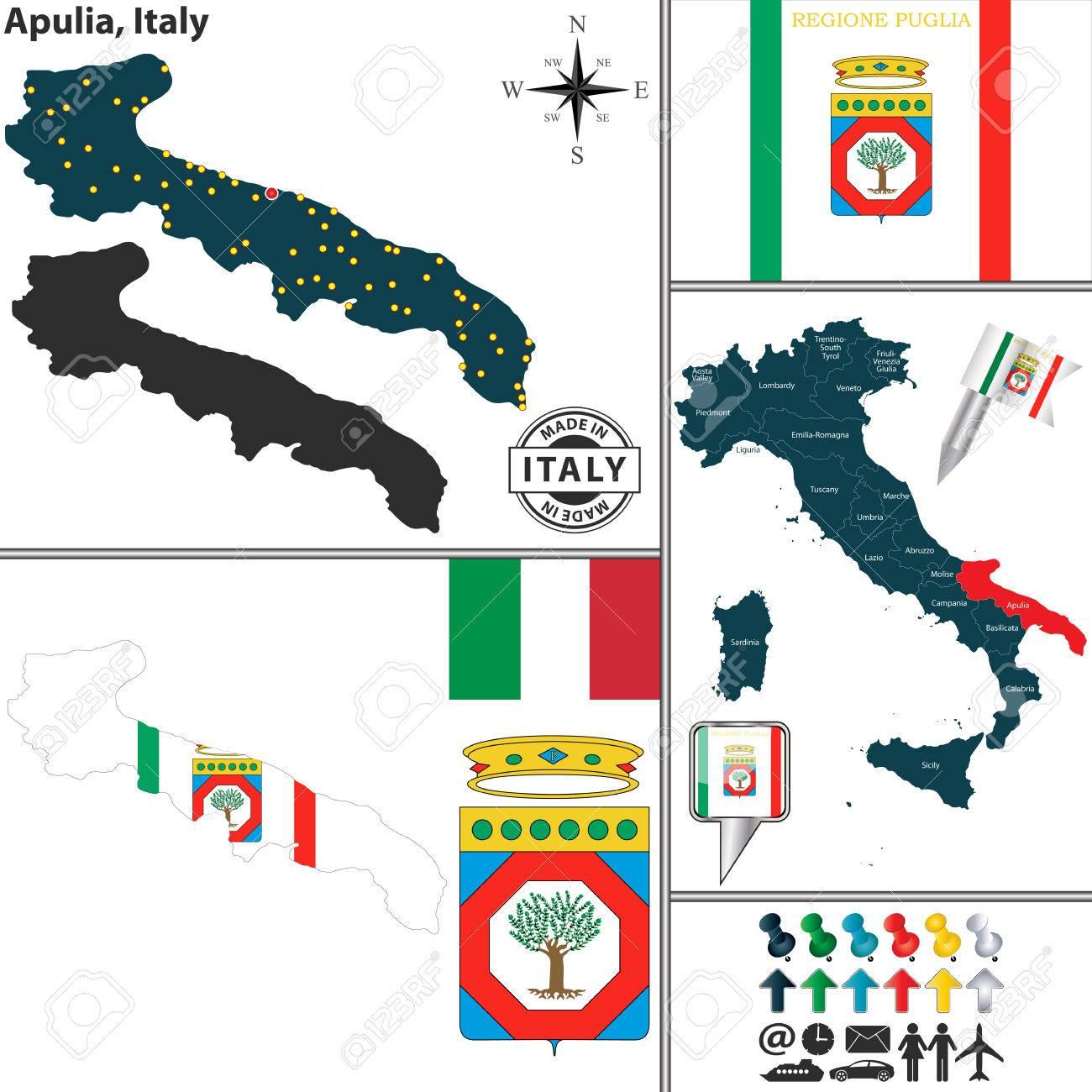 Vecteur Carte De La Region Pouilles Avec Des Armoiries Et L Emplacement Sur La Carte Italie Clip Art Libres De Droits Vecteurs Et Illustration Image 36769098