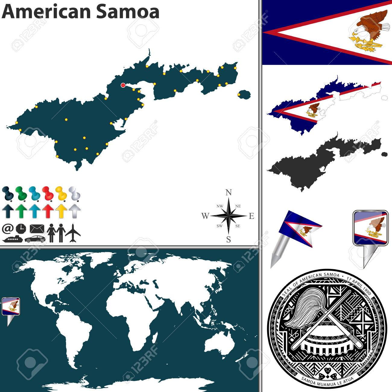 Vector Map Of American Samoa With Coat Of Arms And Location On ...