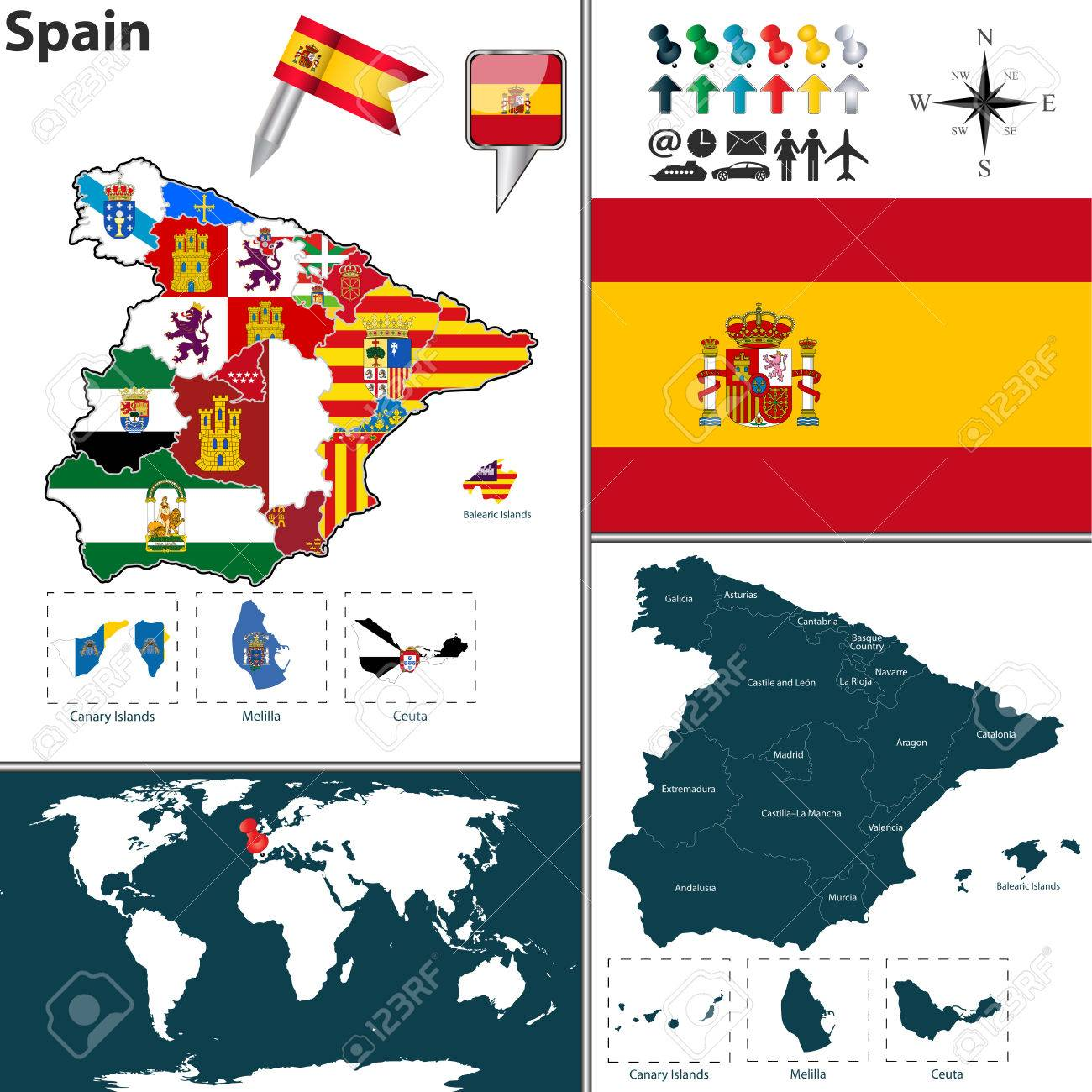 Map Of Spain With Regions With Flags Royalty Free Cliparts - Spain regions map