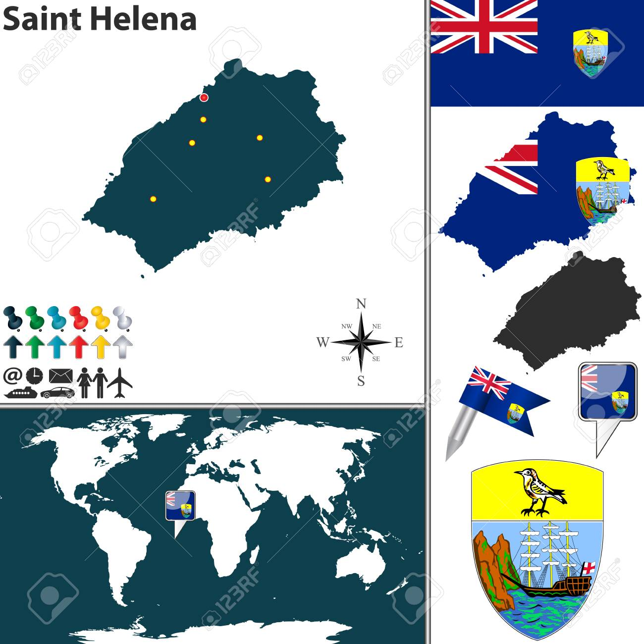 St Helena On World Map.Vector Map Of Saint Helena Island With Coat Of Arms And Location