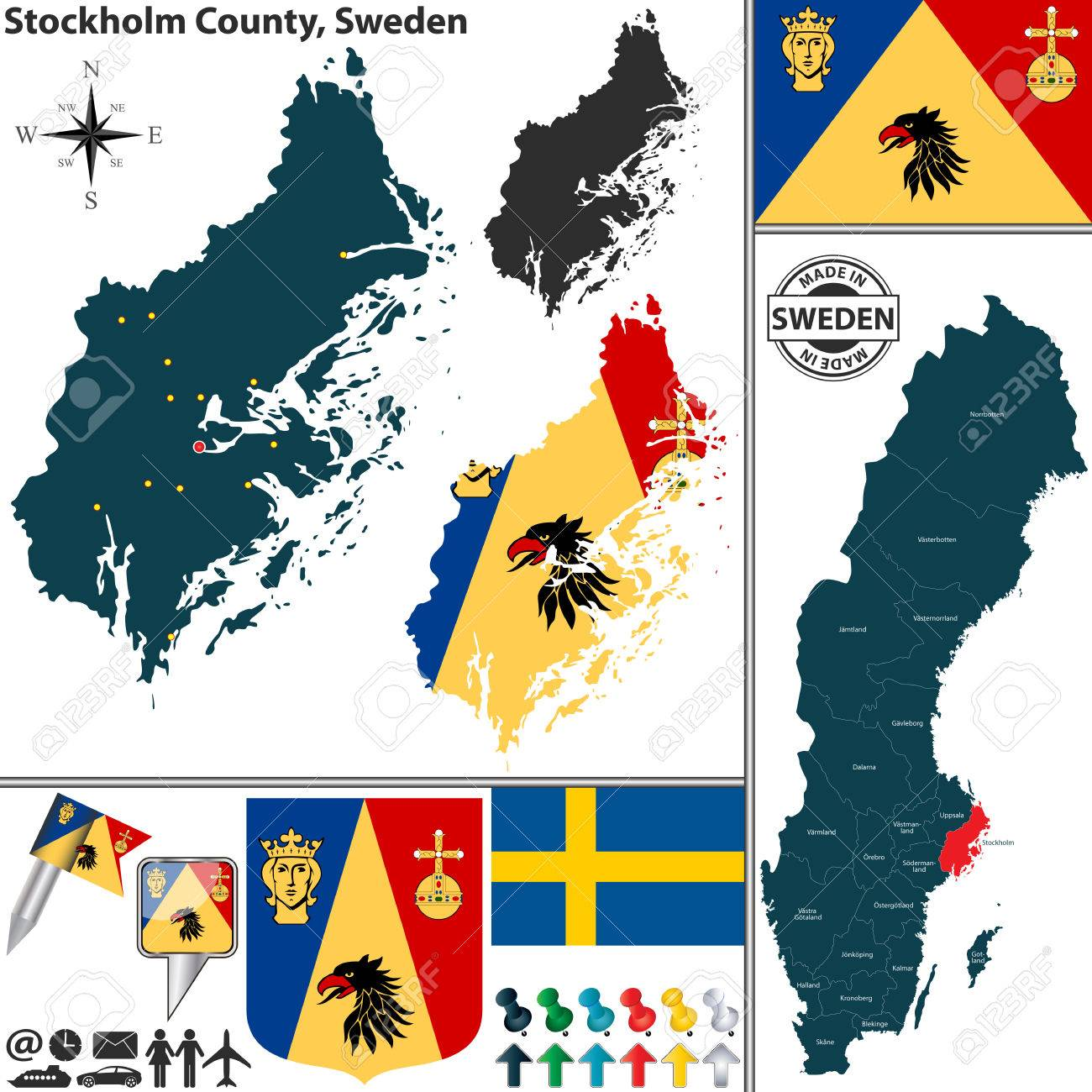 Vector Map Of County Stockholm County With Coat Of Arms And - Sweden map location