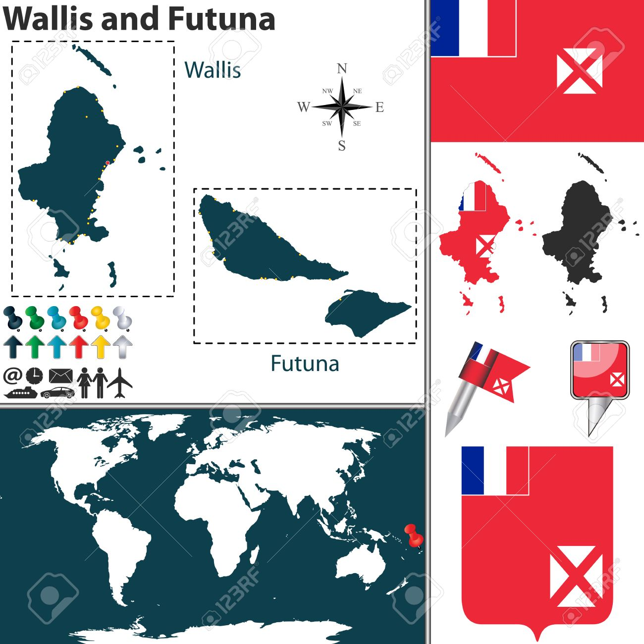 Vector Map Of Wallis And Futuna With Coat Of Arms And Location - Wallis and futuna map