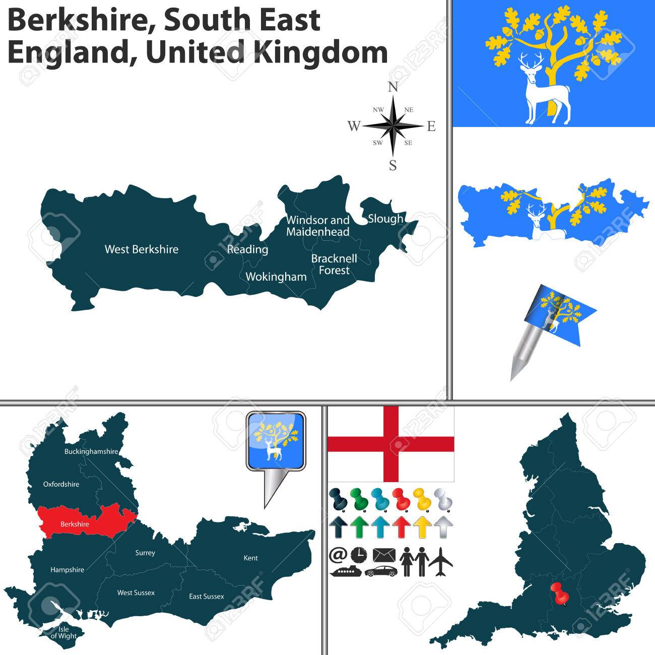 Vector Map Of Berkshire South East England United Kingdom With