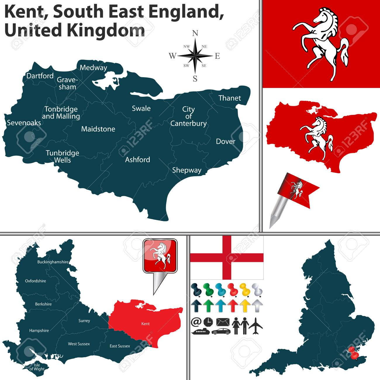 Kent Map Of England.Vector Map Of Kent South East England United Kingdom With Regions