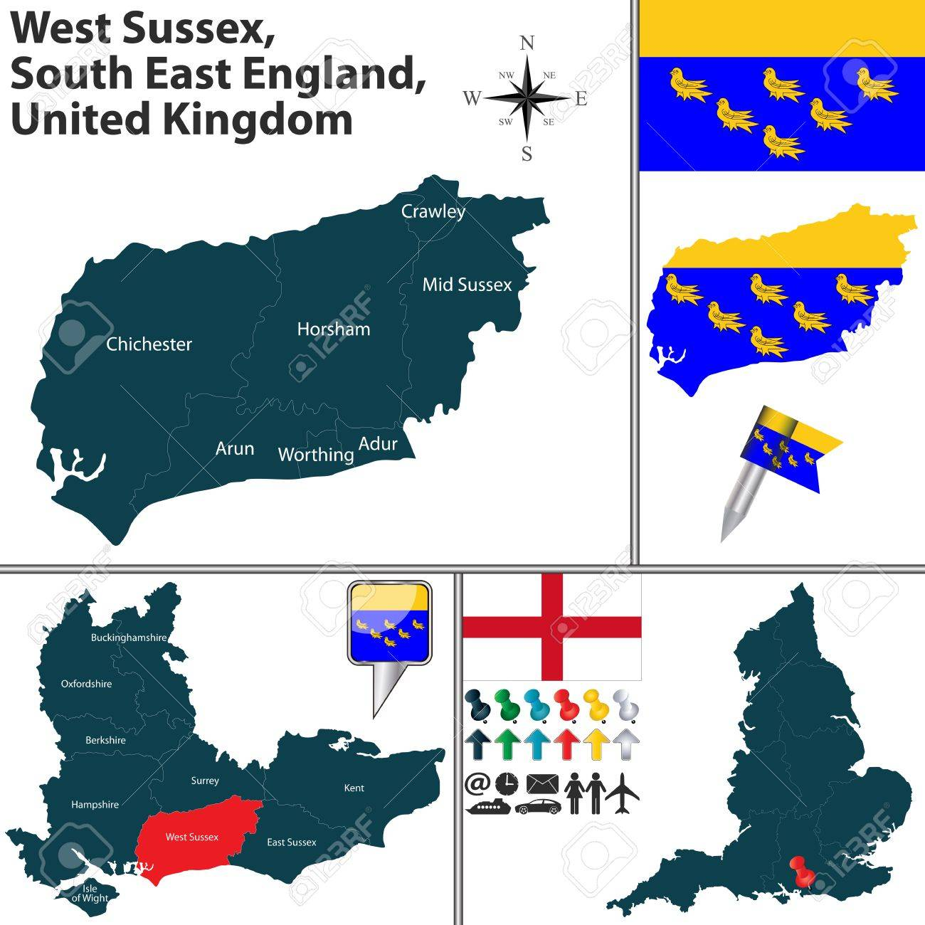 Vector Map Of West Sussex South East England United Kingdom