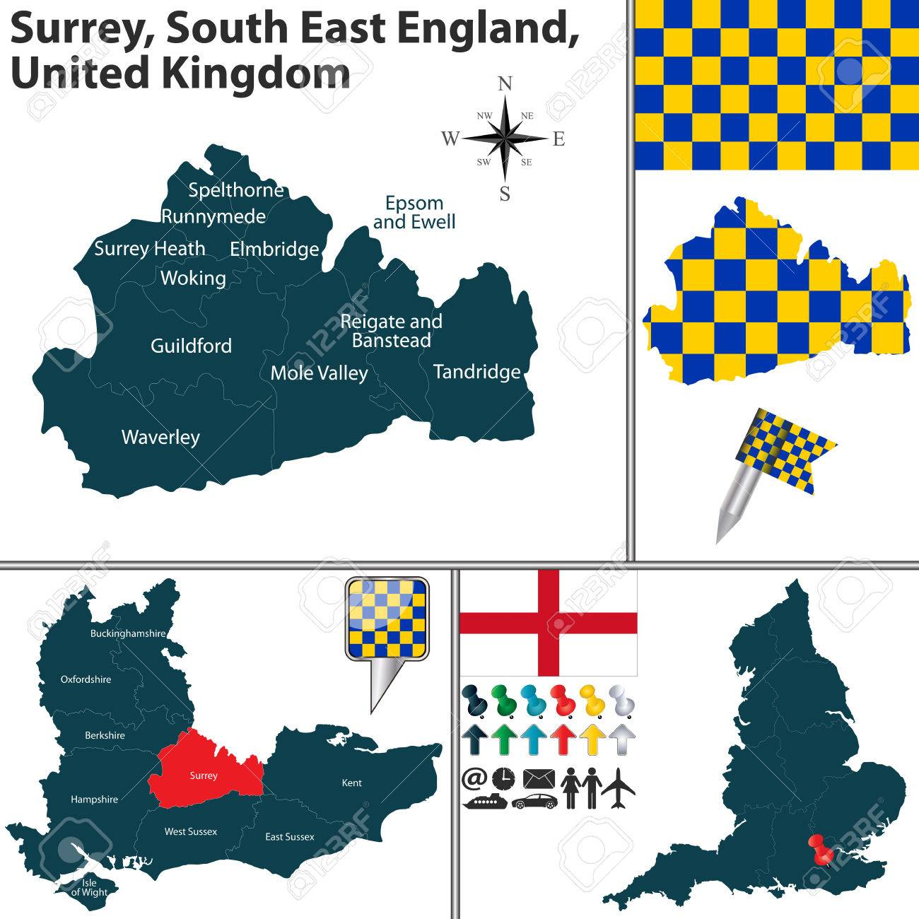 Guilford England Map.Vector Map Of Surrey South East England United Kingdom With