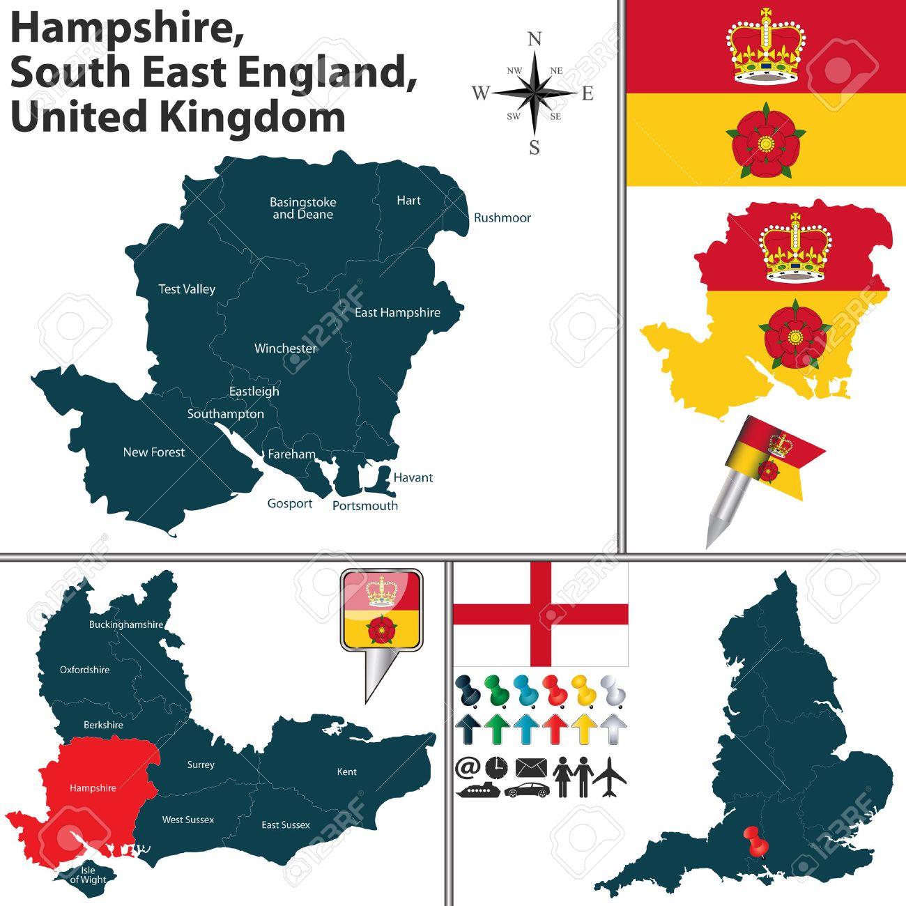 Carte Hampshire Angleterre.Vecteur Carte De Hampshire South East England Royaume Uni Avec Les Regions Et Drapeaux