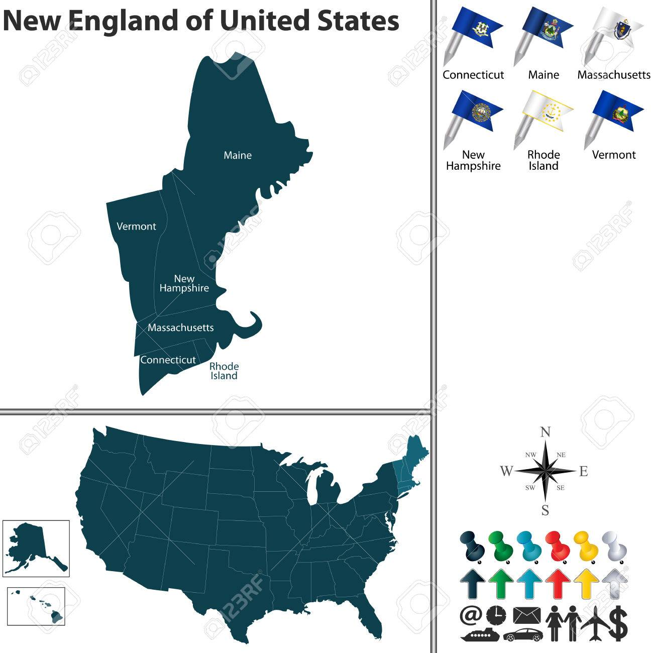 Vector Set Of New England Of United States With Flags And Map ...