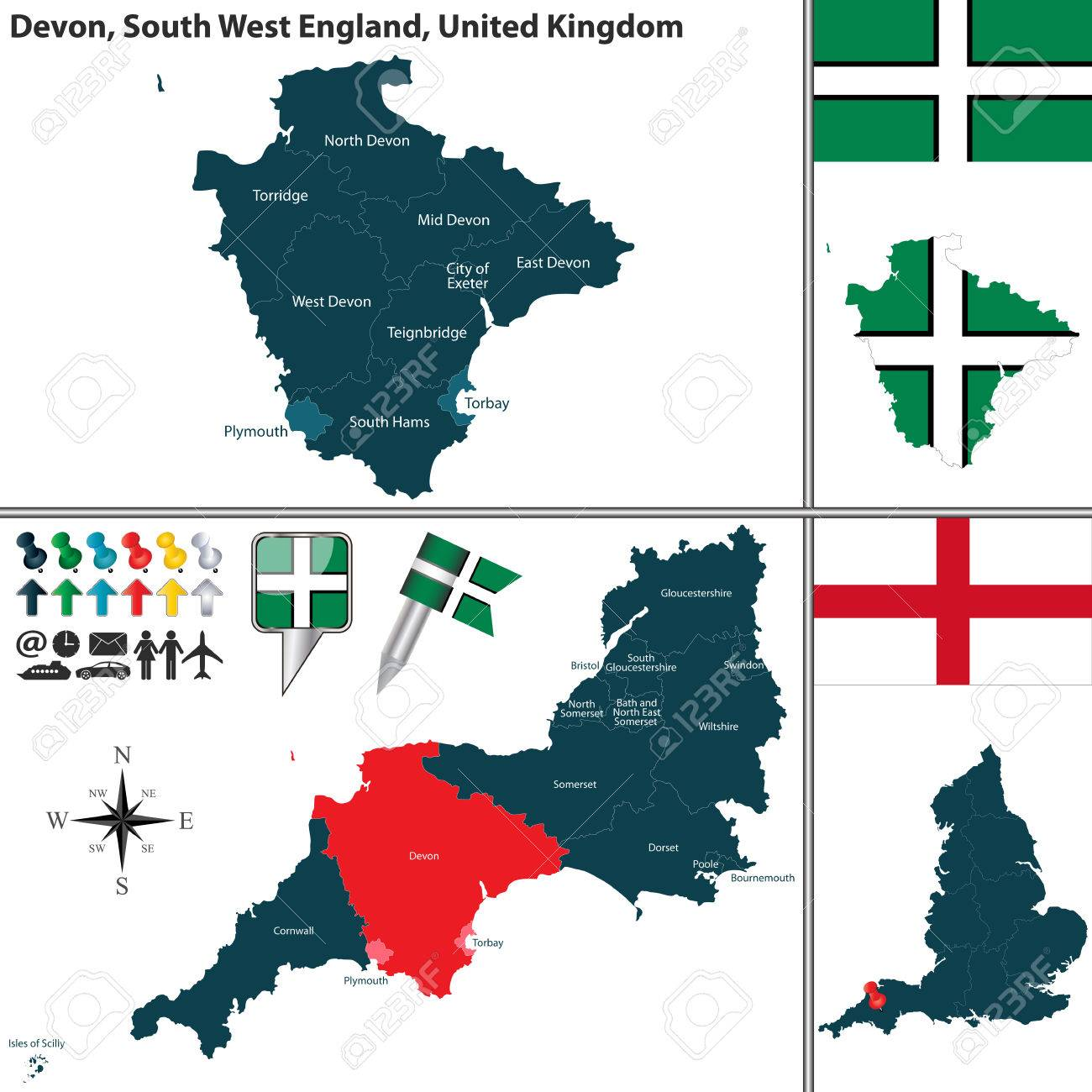 South Devon England Map.Map Of Devon In South West England United Kingdom With Regions