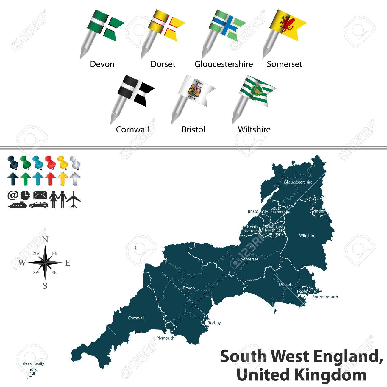 Map Of The South West Of England.Map Of South West England United Kingdom With Regions And Flags
